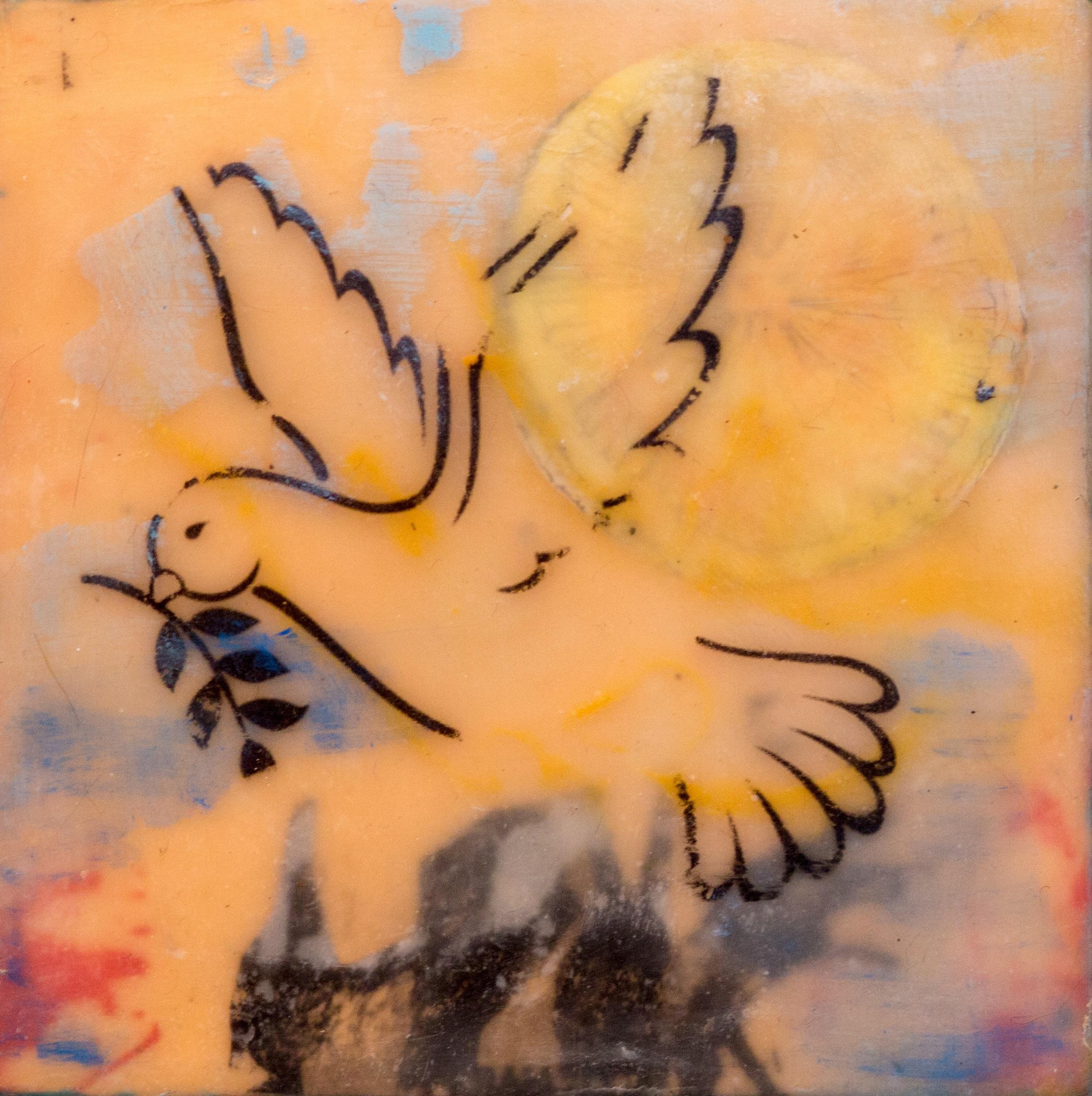 encaustic, love, peace, dove