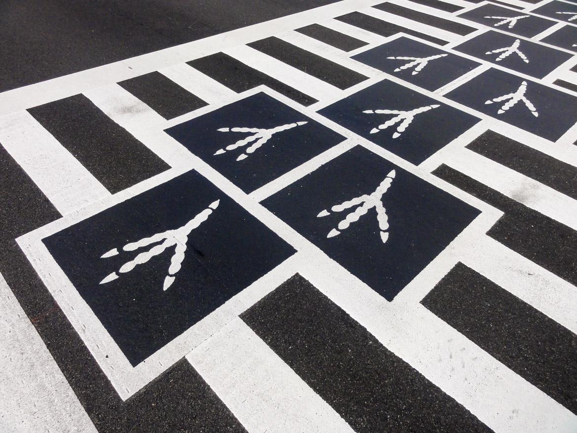 Hopscotch Crosswalk Colossus - bird tracks detail