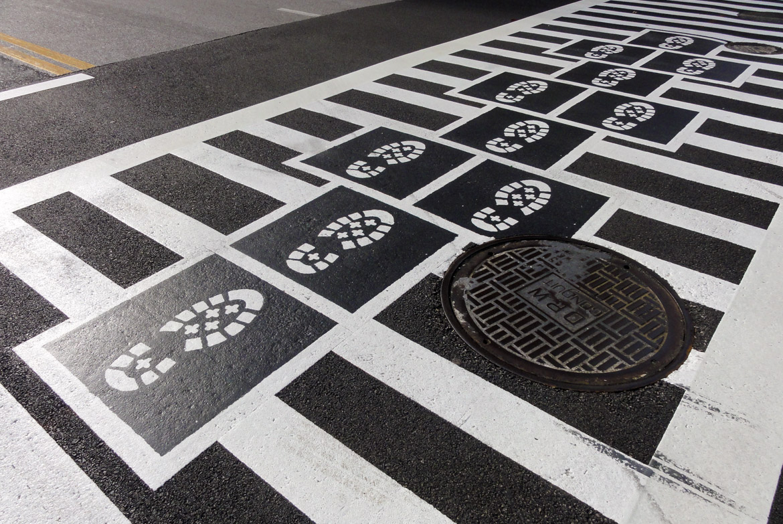 Hopscotch Crosswalk Colossus - boot prints
