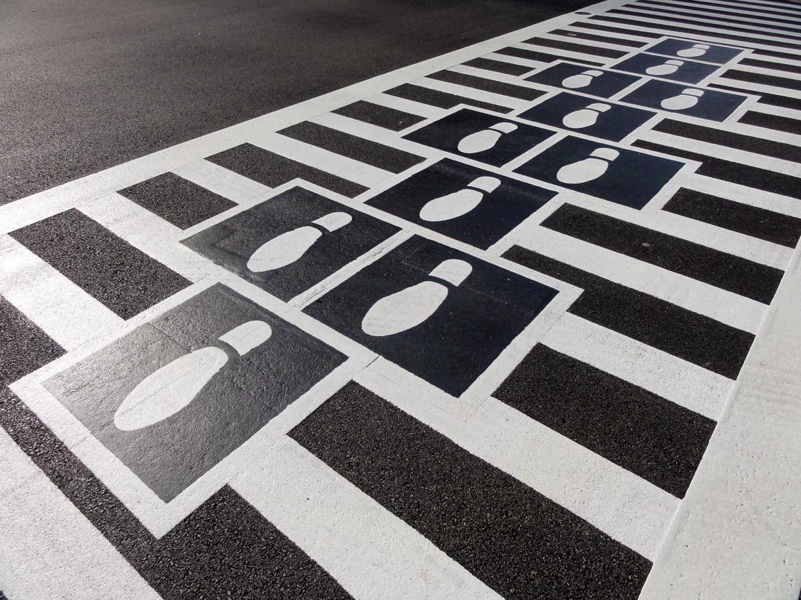 Hopscotch Crosswalk Colossus - shoe prints
