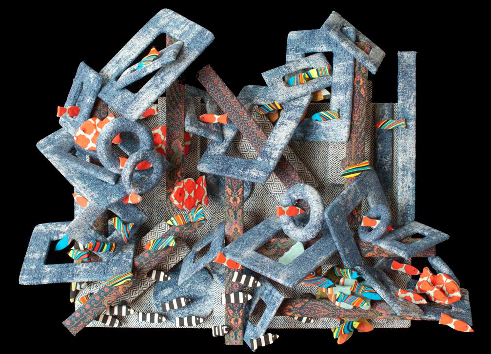 textile, fabric art, mixed media, fiber art, visual art, fish, abstract