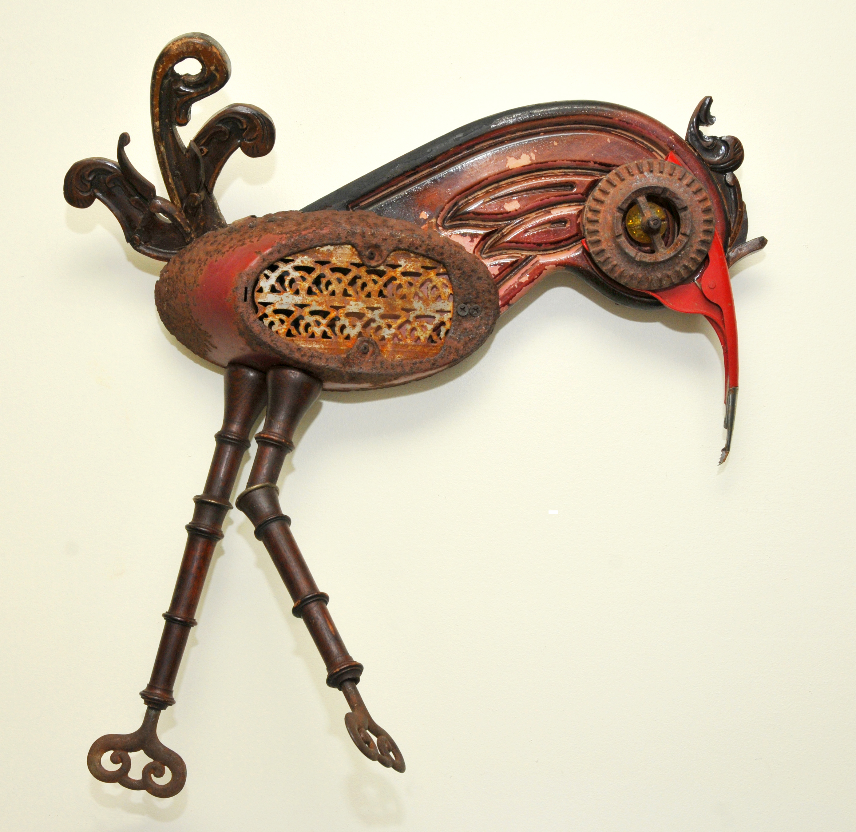 found objects, wall assemblage, birds, repurposed, mixed media