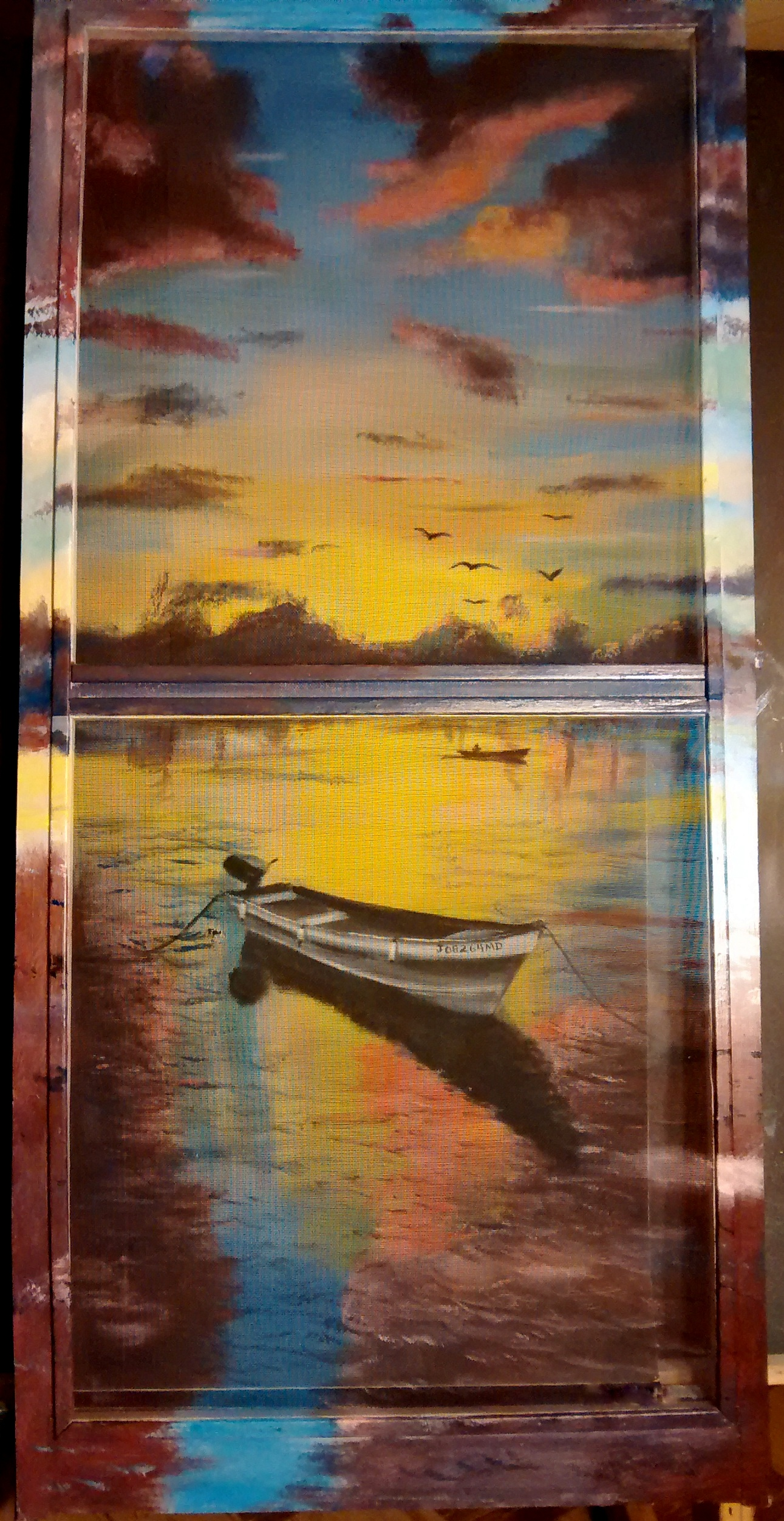 Window screen painting of an anchored boat against a glowing sunset