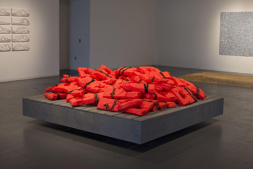 sculpture, life jackets, performance