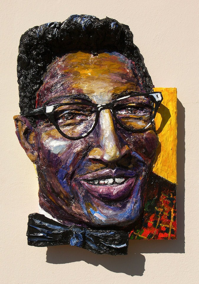 Built-Out Portrait of Bo Diddley by Artist Brett Stuart Wilson