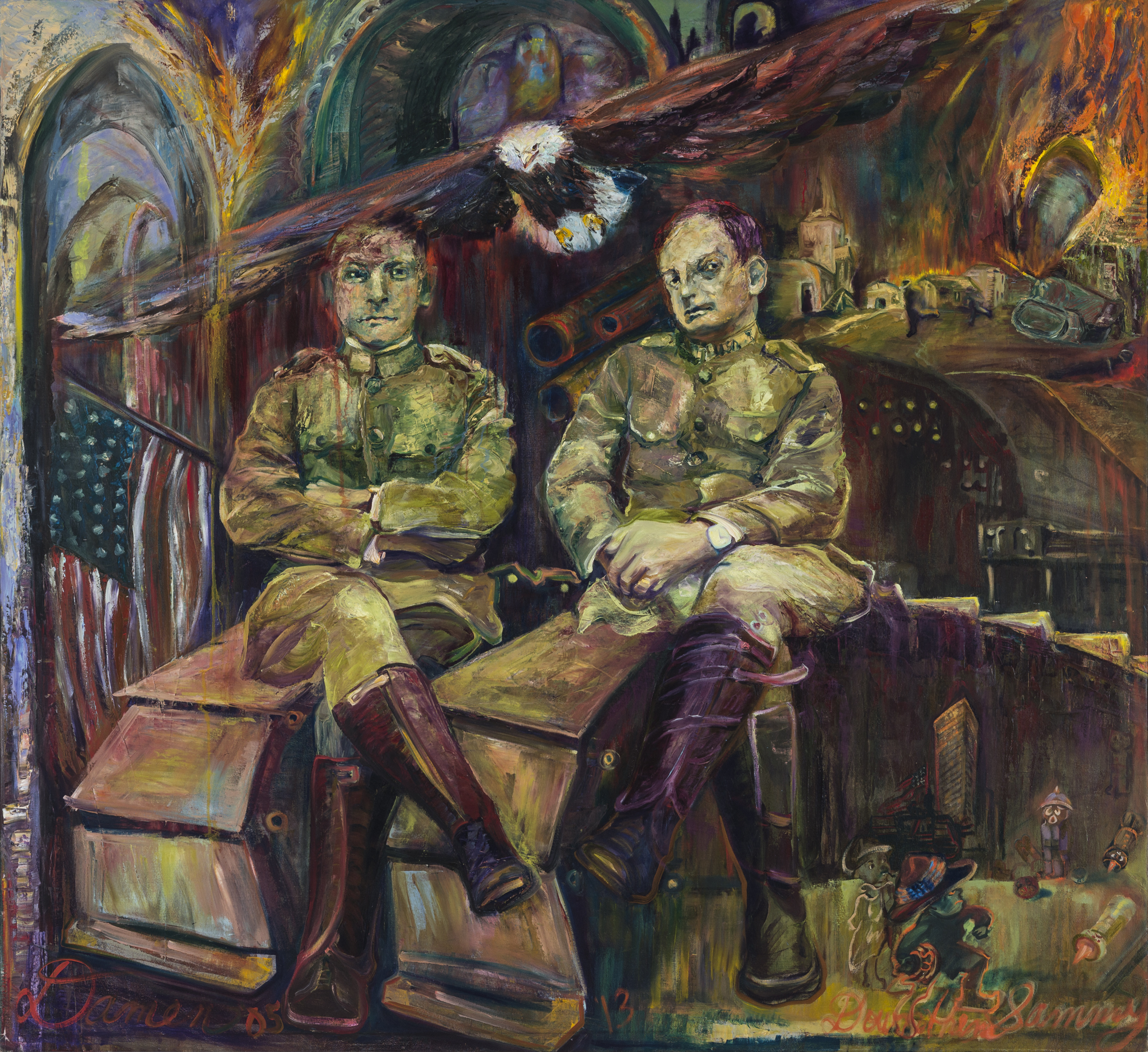 Sammies, young soldiers, American Eagle, oil painting