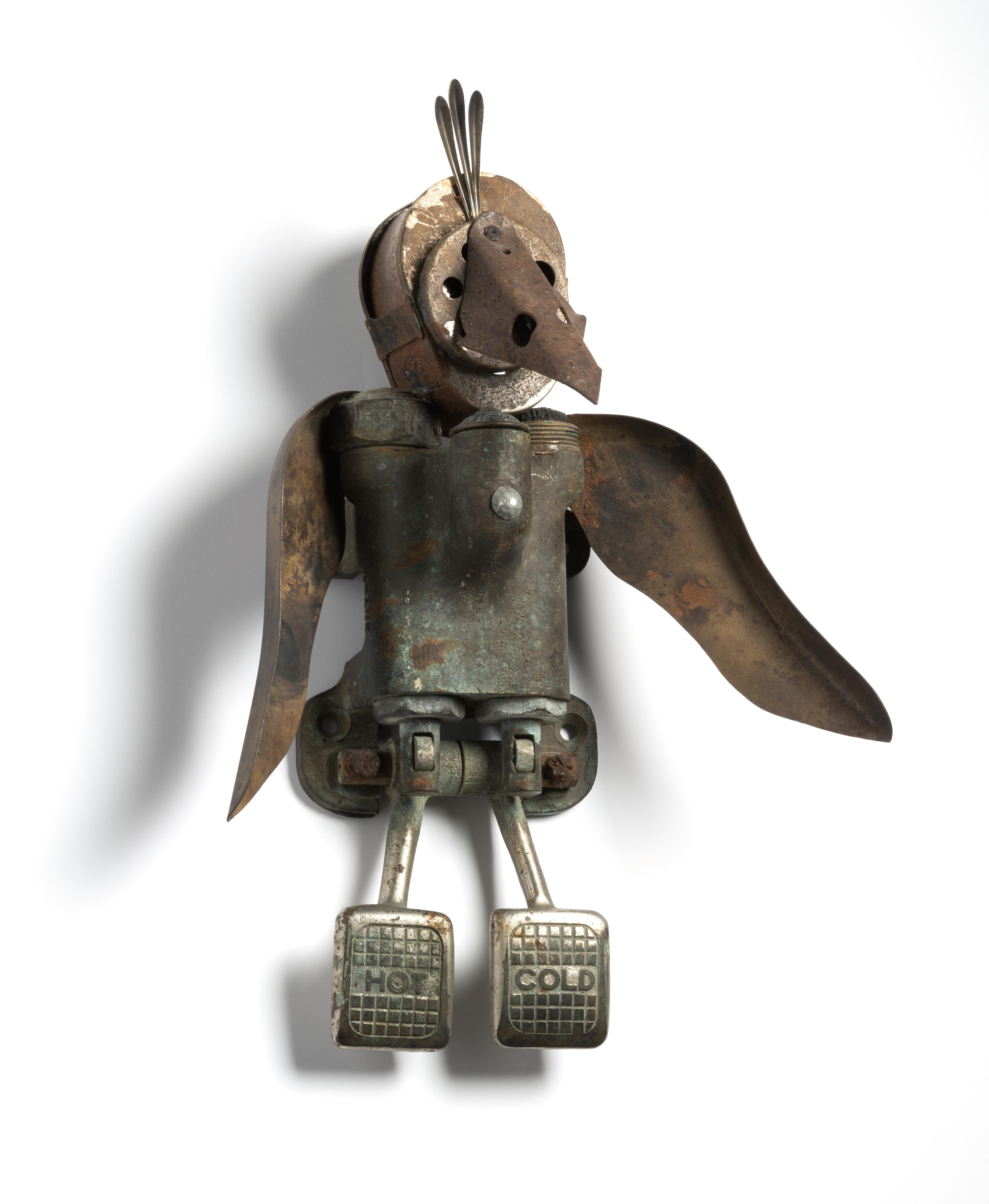 found objects, wall assemblage, bird, avian, mixed media