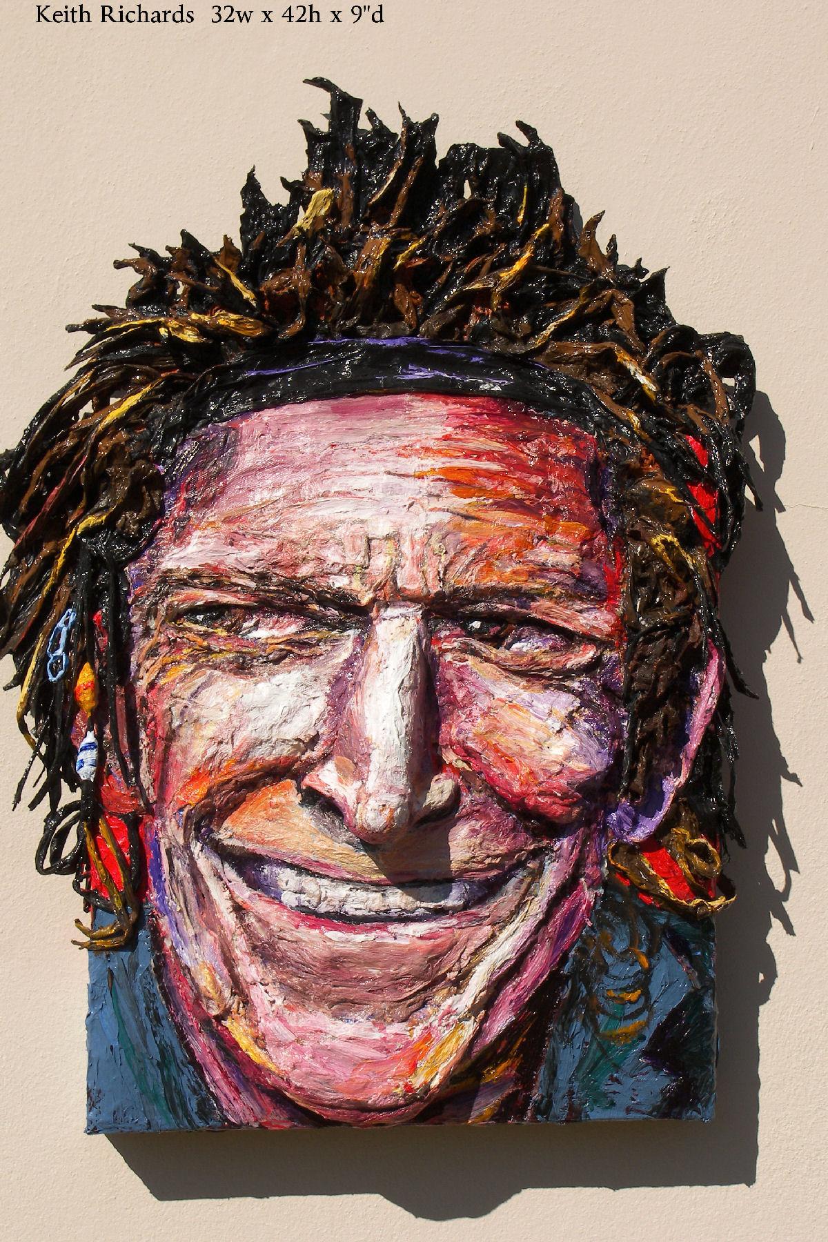 Built-Out Portrait of Keith Richards by Artist Brett Stuart Wilson
