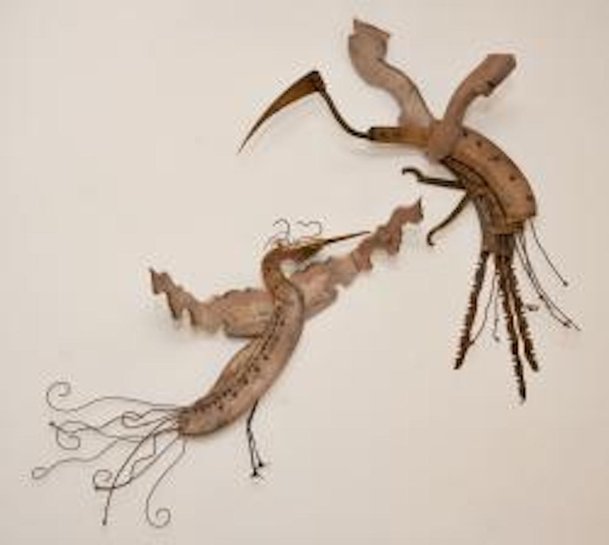 found objects, wall assemblage, birds, repurposed