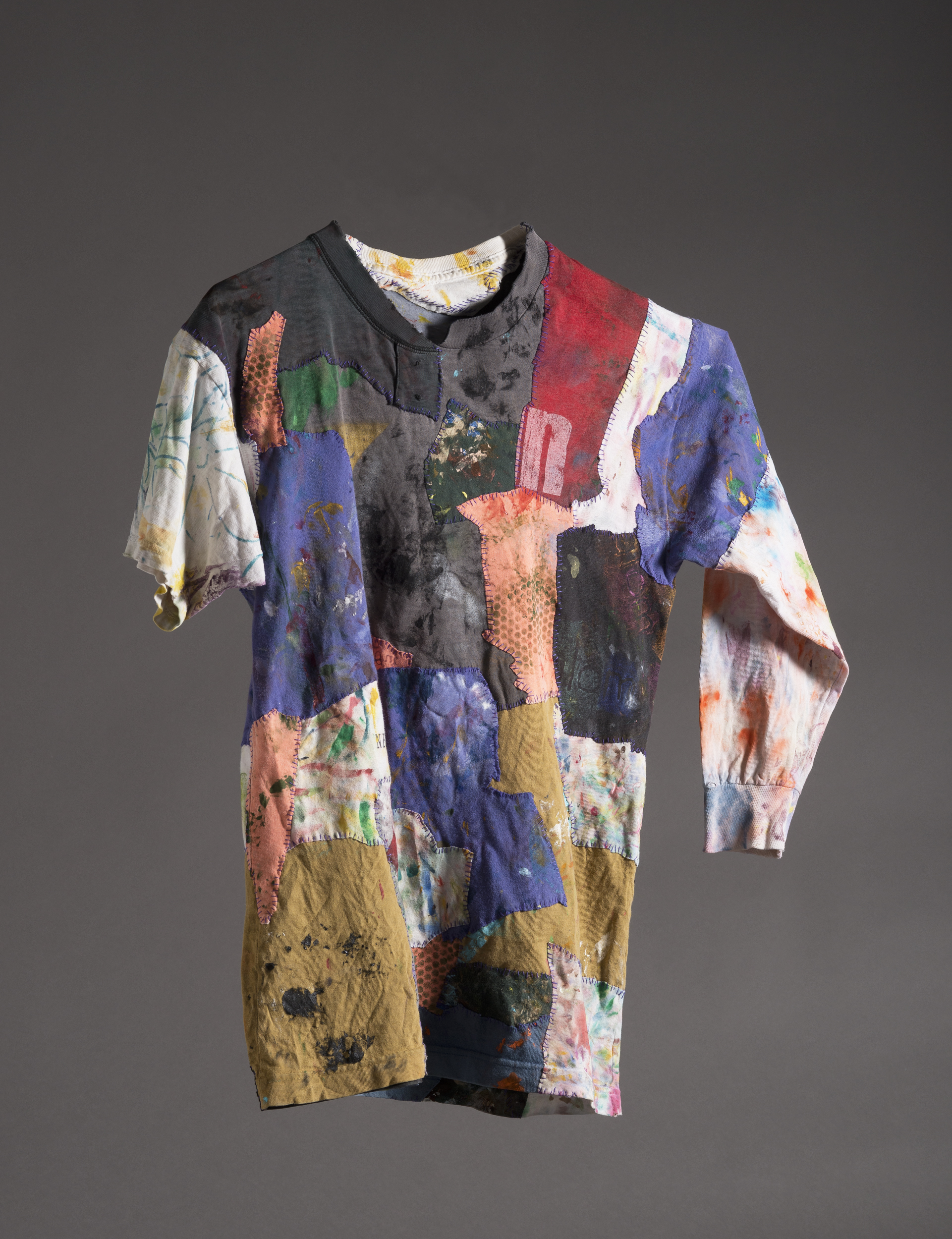 painting rag shirts, acrylic, painting, painting rags, sewing, thread, putting pieces back together, making a painting, shirts, t-shirts, sleeves, colors, paint, cleaning brushes, recycling, repurposing, painting history, wearable art, wearable paintings,