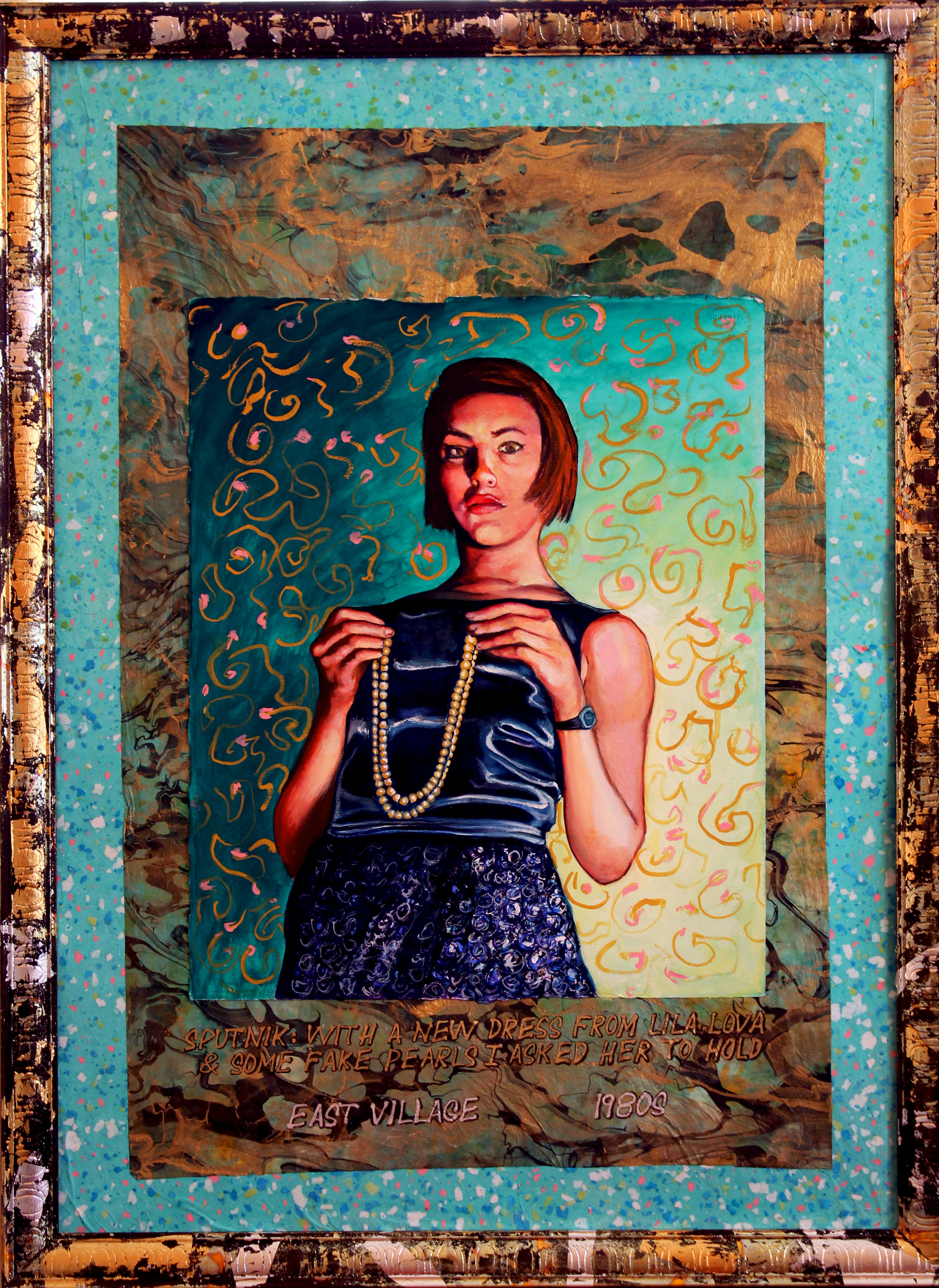 Sputnik: With a New Dress From Lila Lova and Some Fake Pearls I Asked Her to Hold. East Village 1980s. Painting by Edward Weiss