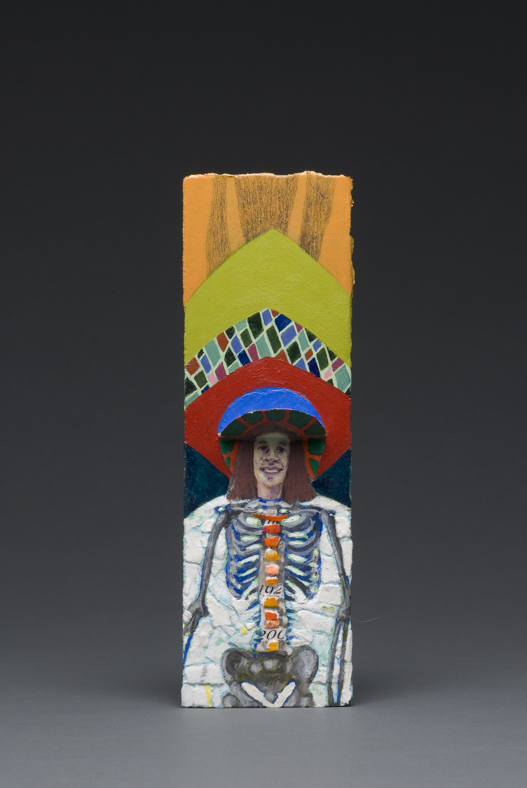 statues, installation, my father, funeral cards, death, holy, self portrait, skeleton, my bones, painting, collage