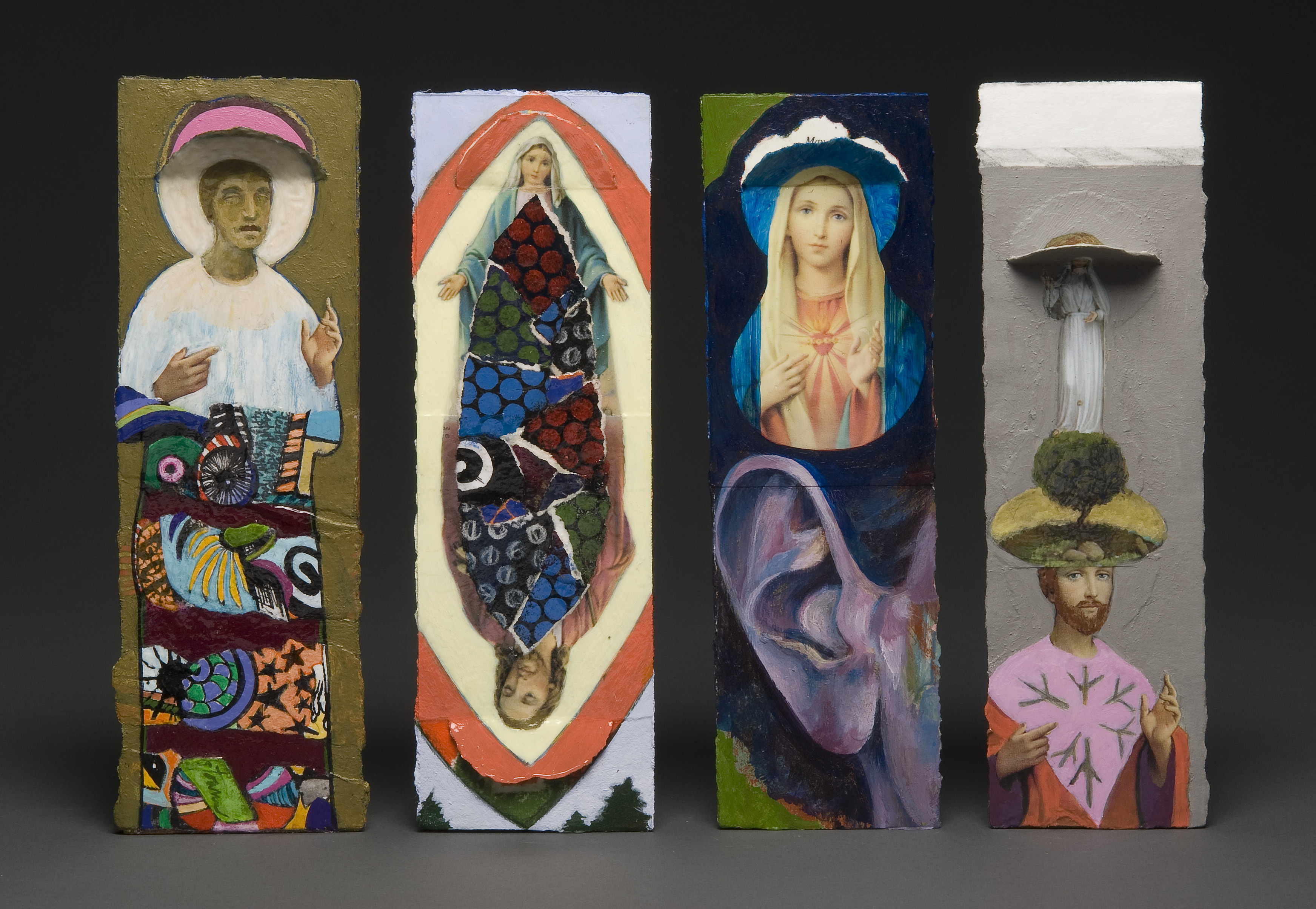 statues, installation, my father, funeral cards, death, holy, shelves, painting, Mary, ears, trees, collage