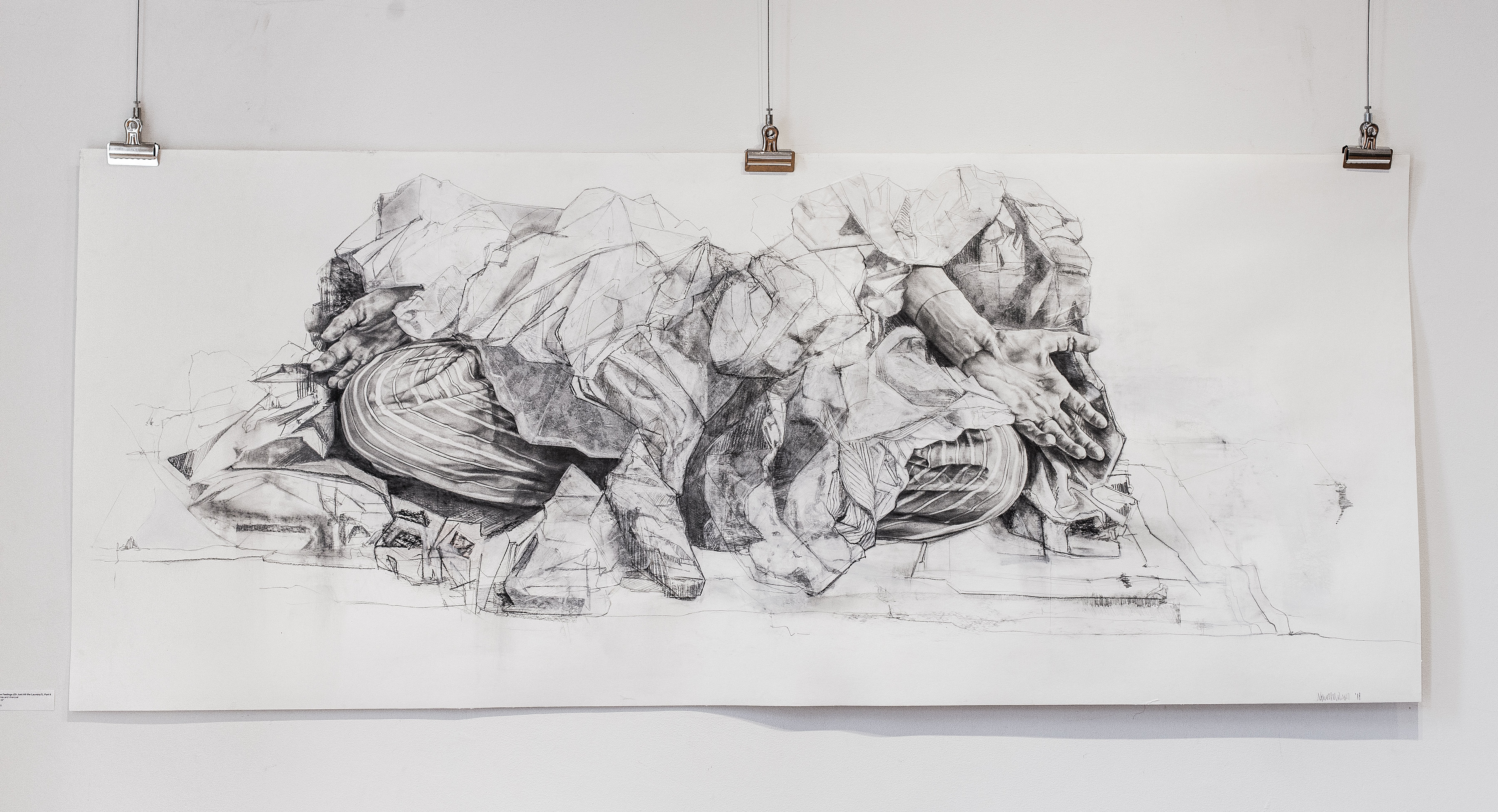 """All the Feelings... , graphite and charcoal on paper, 72"""" x 32"""", 2018"""