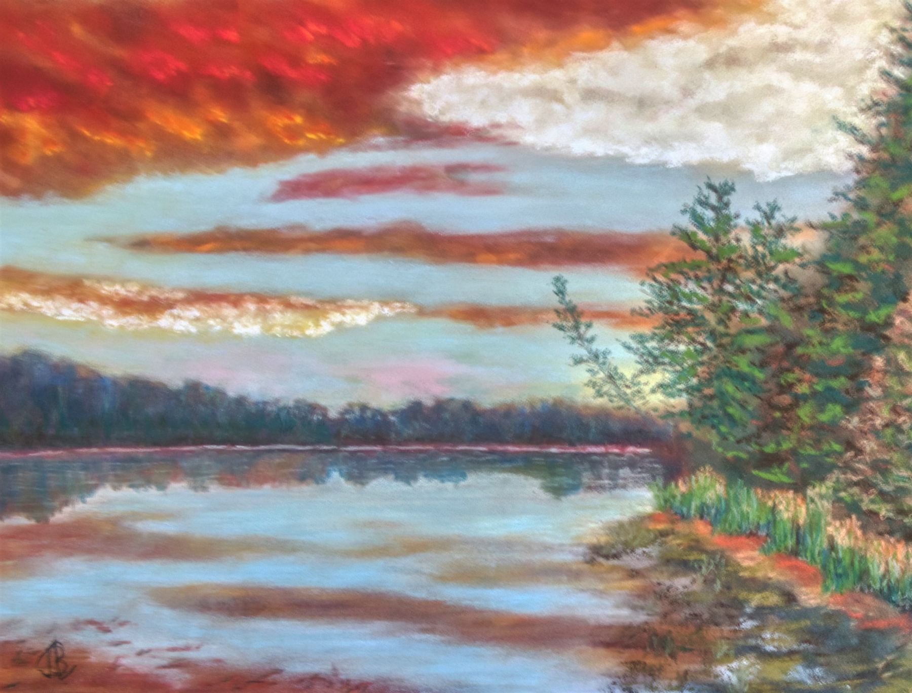 Lake, Mississippi headwaters, Lake Itasca, reflection, sunset, fiery sky, pastel, painting, realistic, JBL-Art, Barrie Leigh