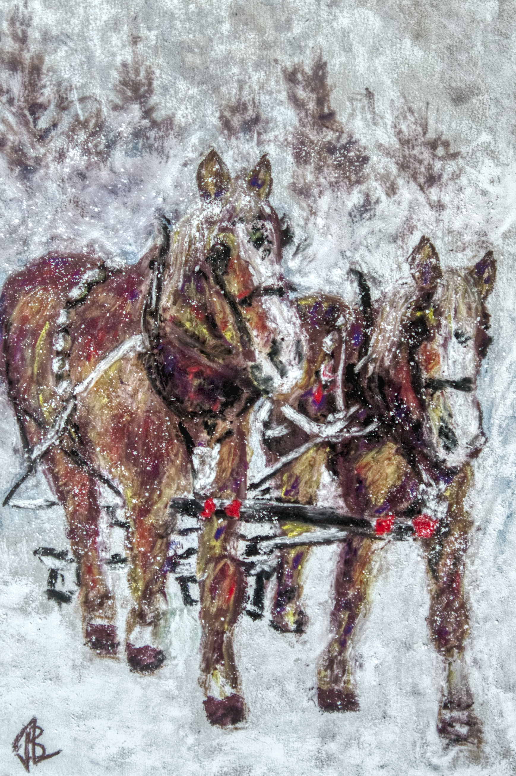 Pastels, Animals, Horse, Sleigh, Snow, Trotting, Harness, pastel, painting, realistic, JBL-Art, Barrie Leigh