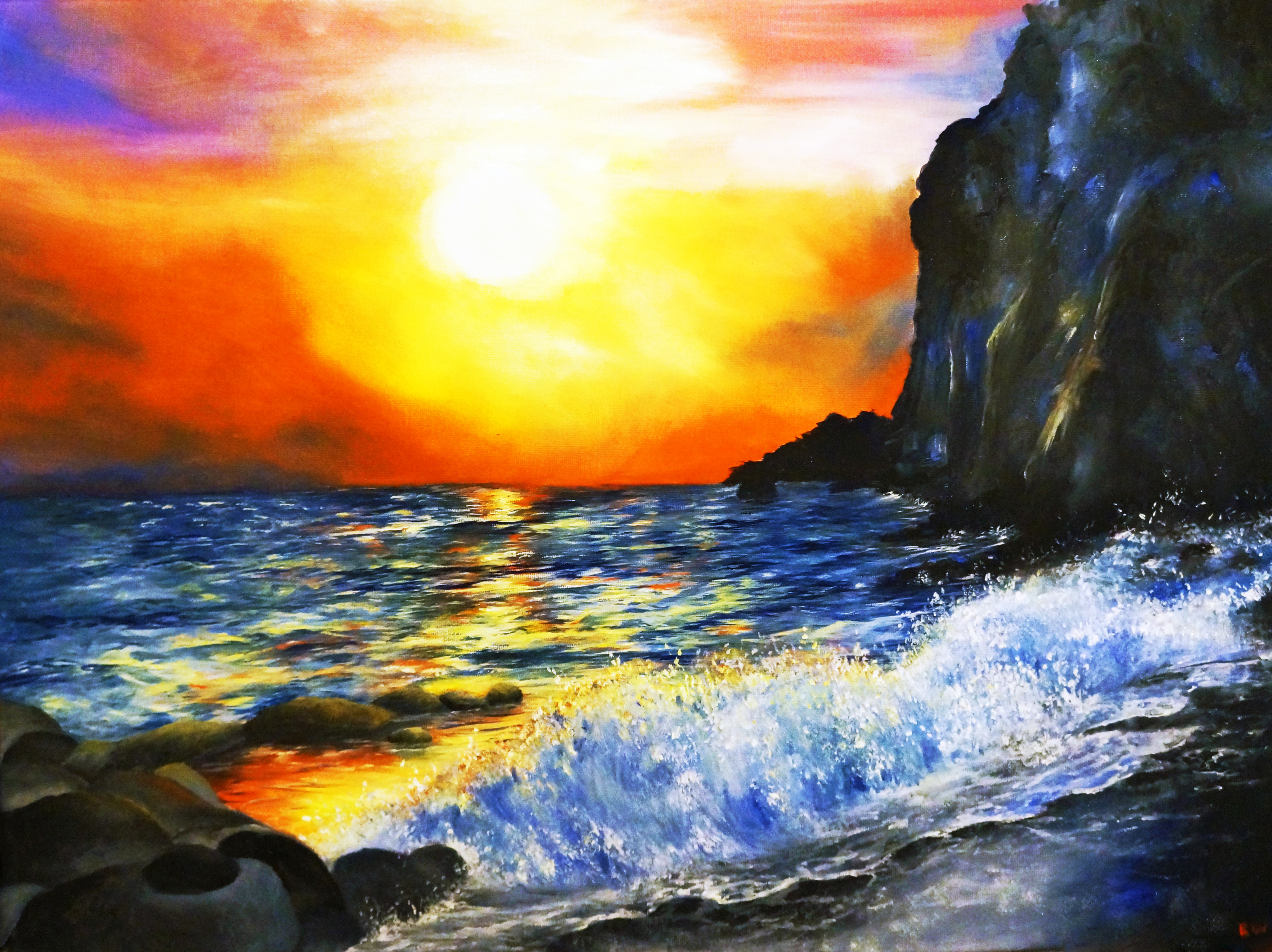 oil painting, sunset painting, sunset, ocean, waves, beach painting, paradise, tropical, peace