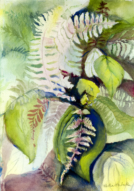 Watercolor painting of ferns in positive and negative shapes