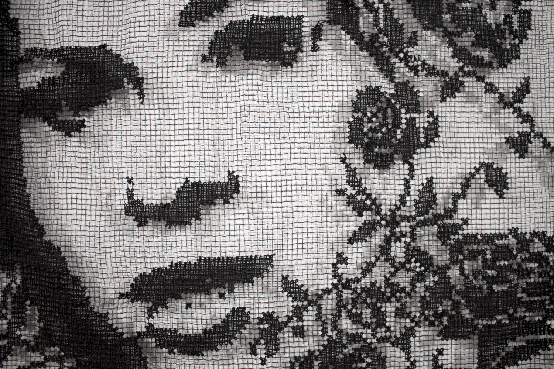 Detail image of a lace portrait