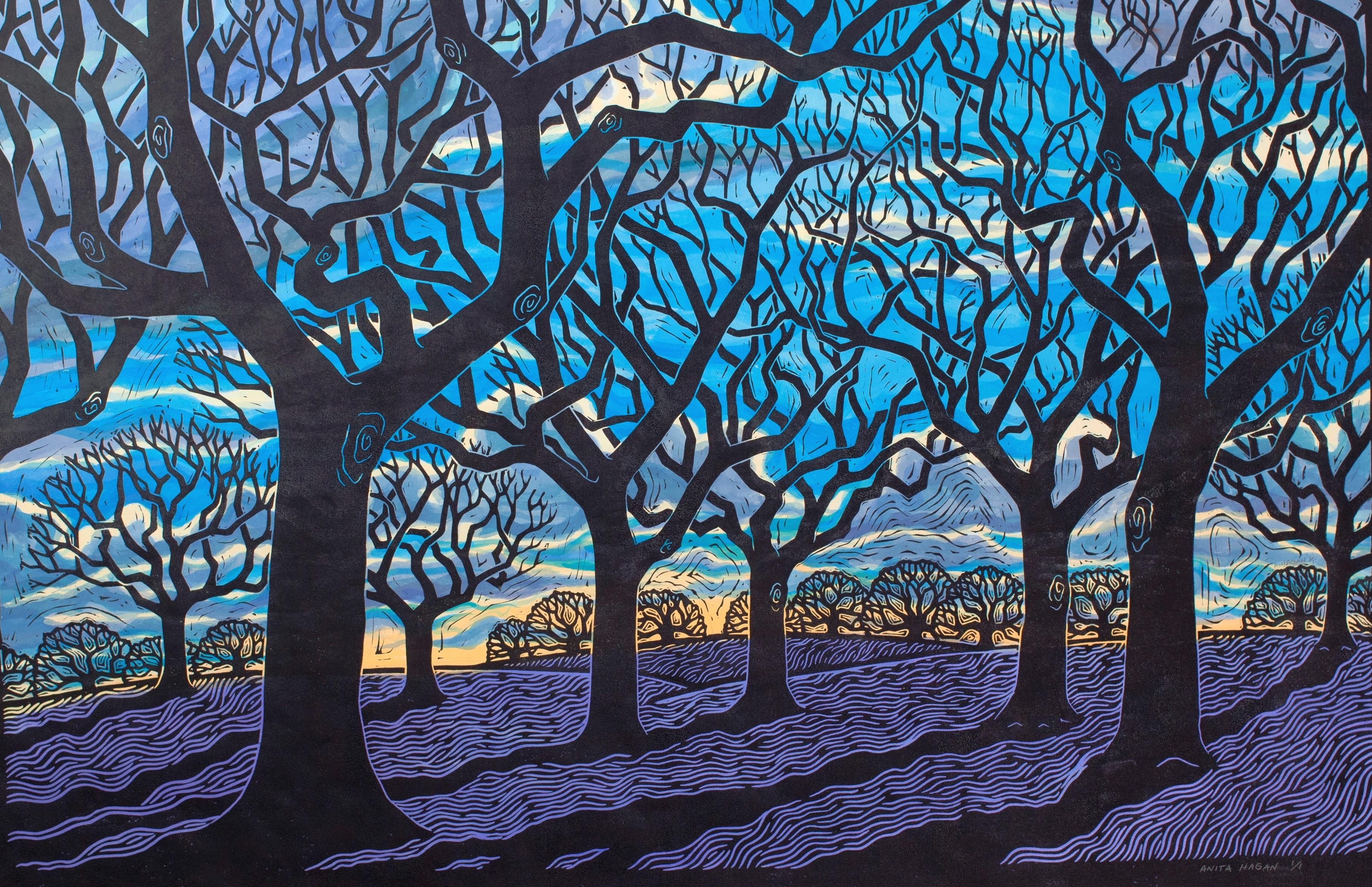 """Sacred Grove""- 24"" x 36""- Linoleum block print with watercolor on handmade Kozo paper."