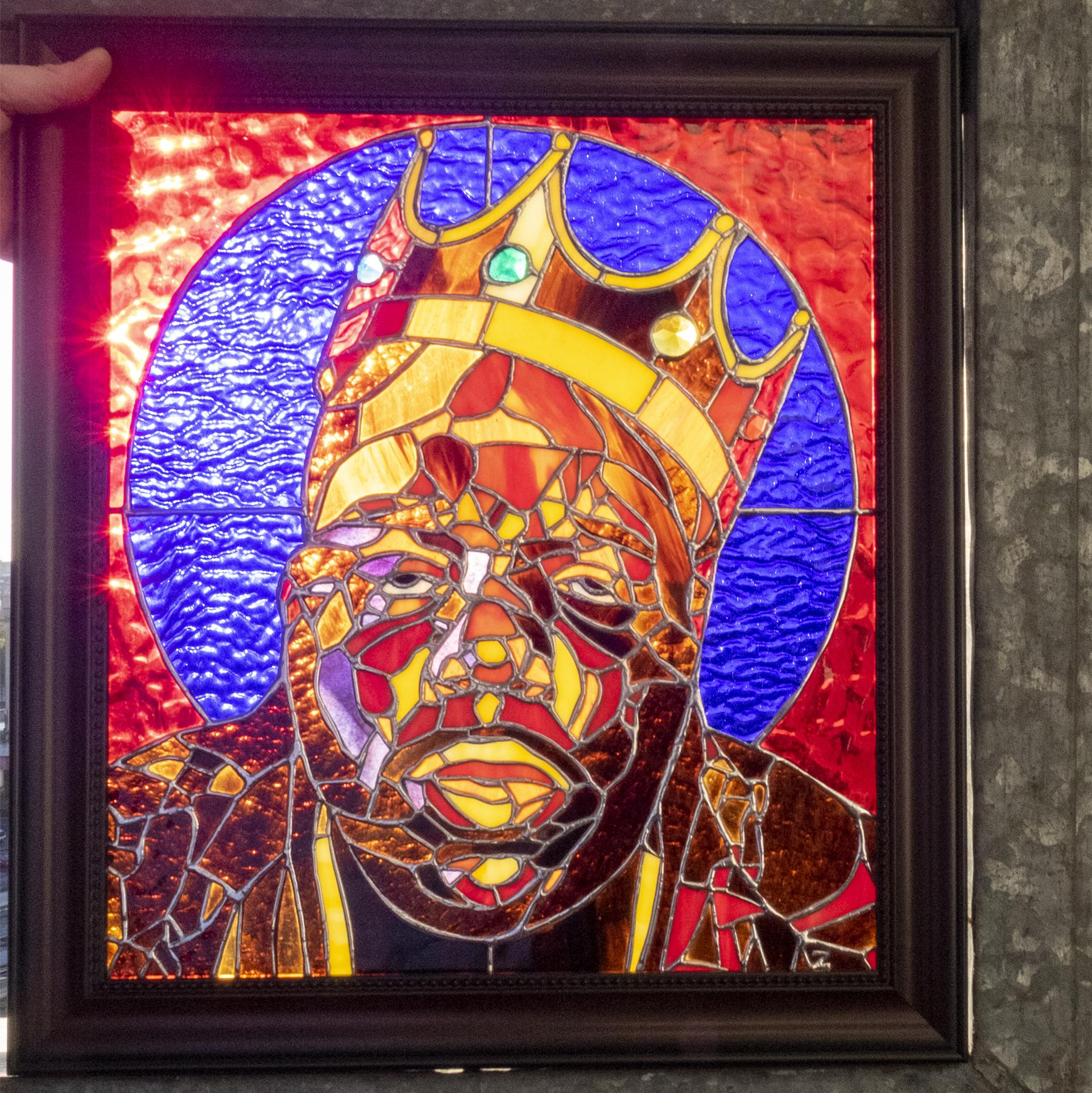 Stained Glass Biggie Smalls Portrait