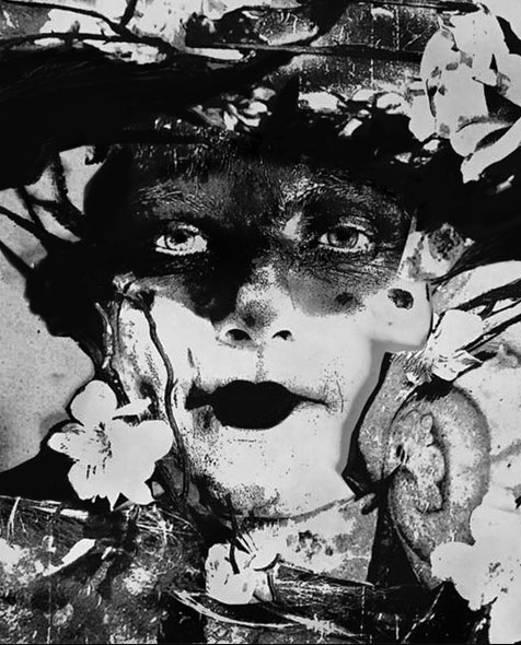 black and white photo collage of woman with flowers floating