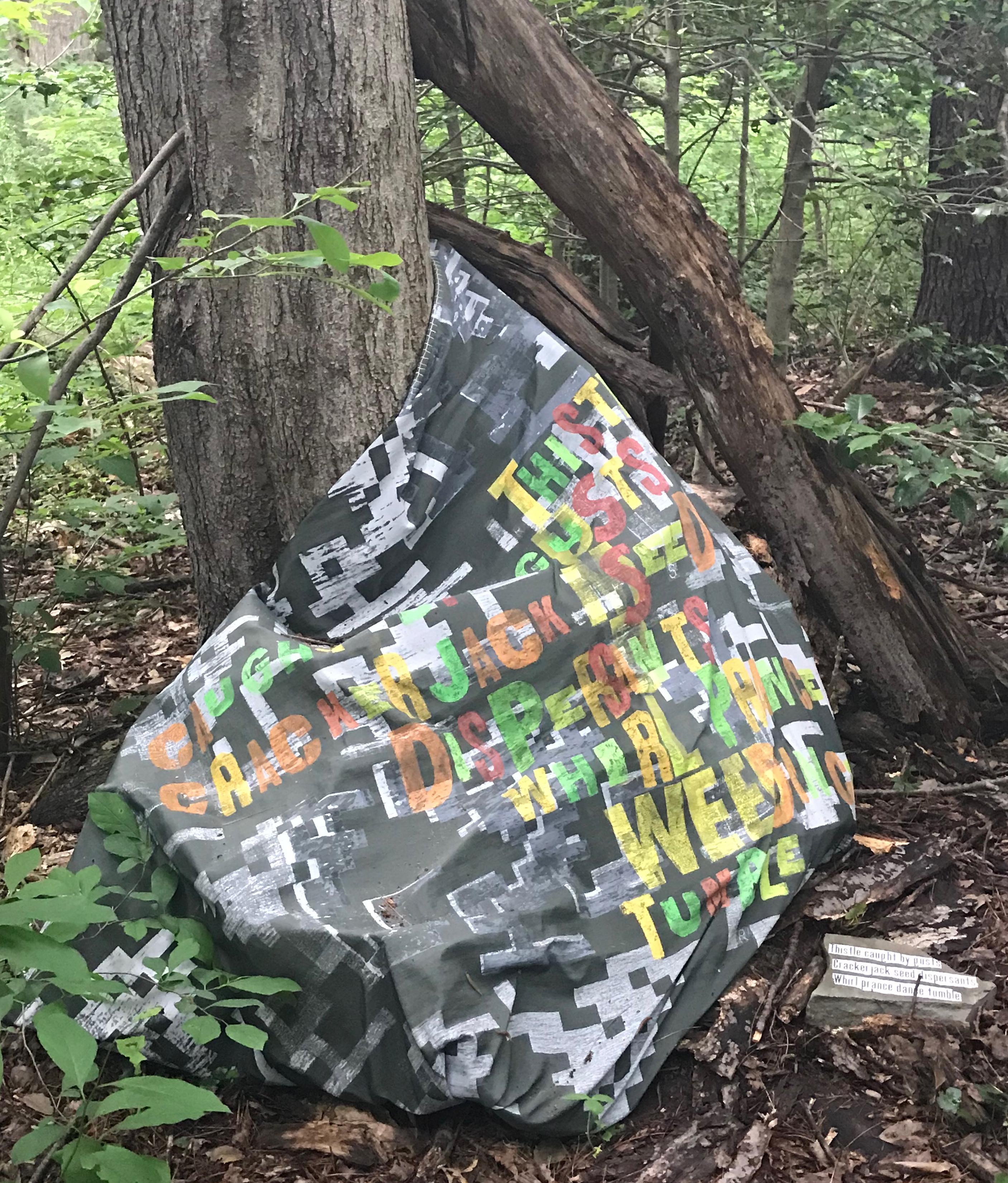 screen print, sculptures, repurposed art, Scrabble art, installation, outdoor