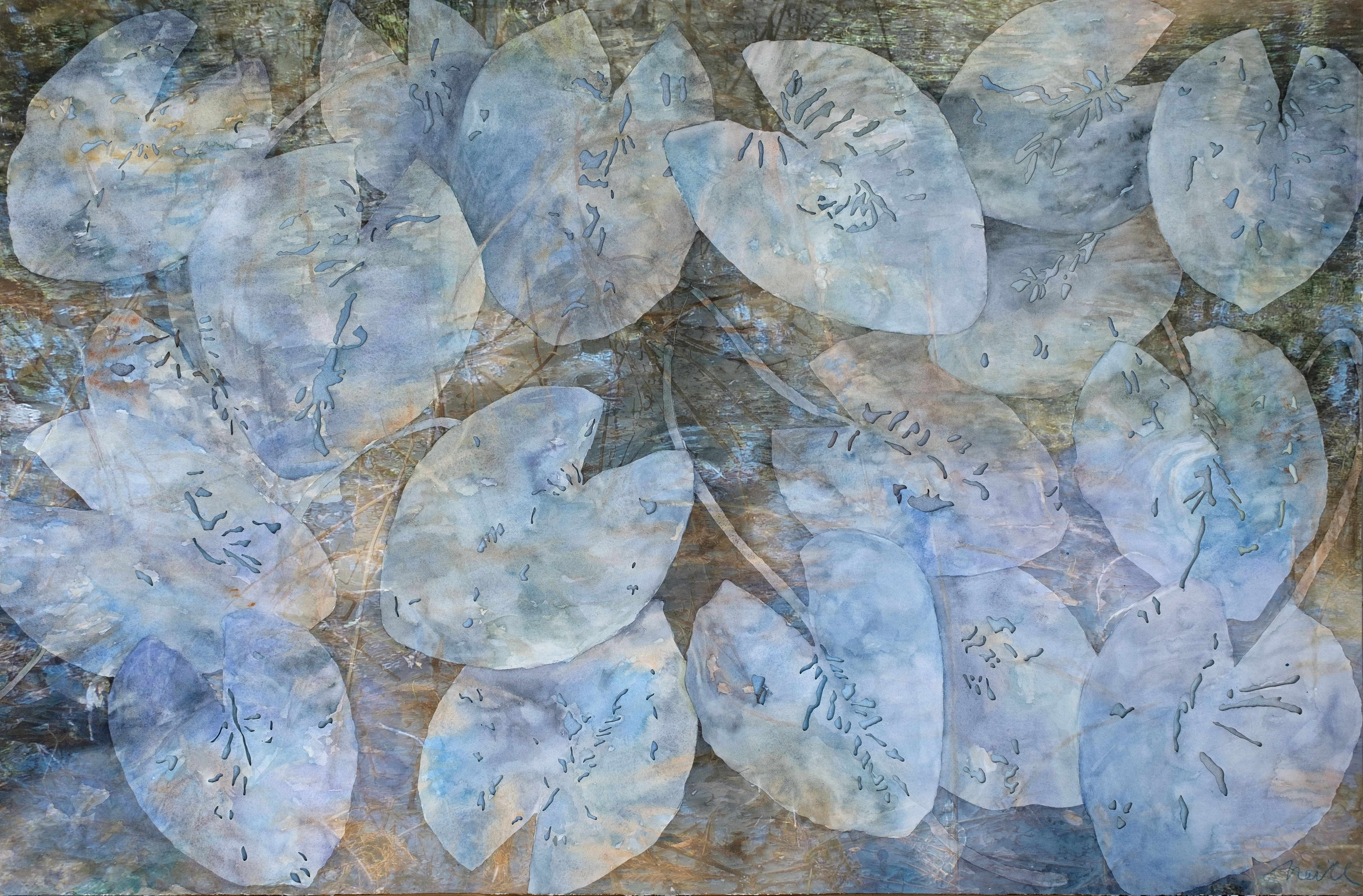 """Blue Carbon, 2019, Watercolor, archival pigment print on laser cut Arches paper, 30"""" x 45""""  Blue carbon is the carbon captured and stored in wetland ecosystems such as mangrove forests, seagrass meadows or intertidal saltmarshes. The ecosystems are valued"""