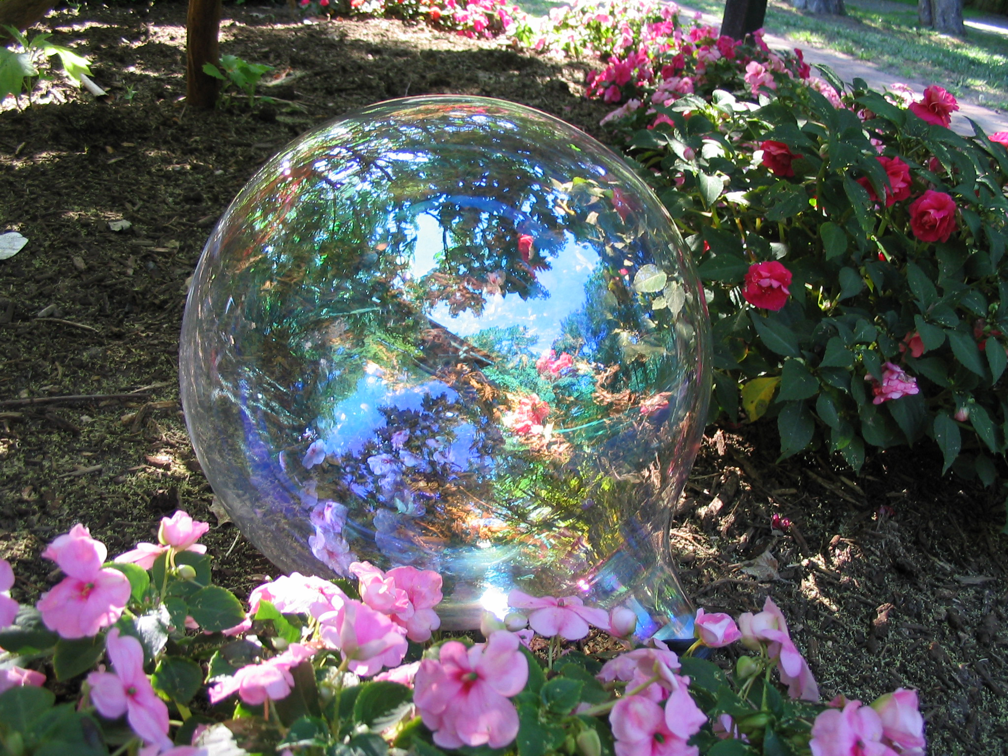Clear gazing ball in flower garden