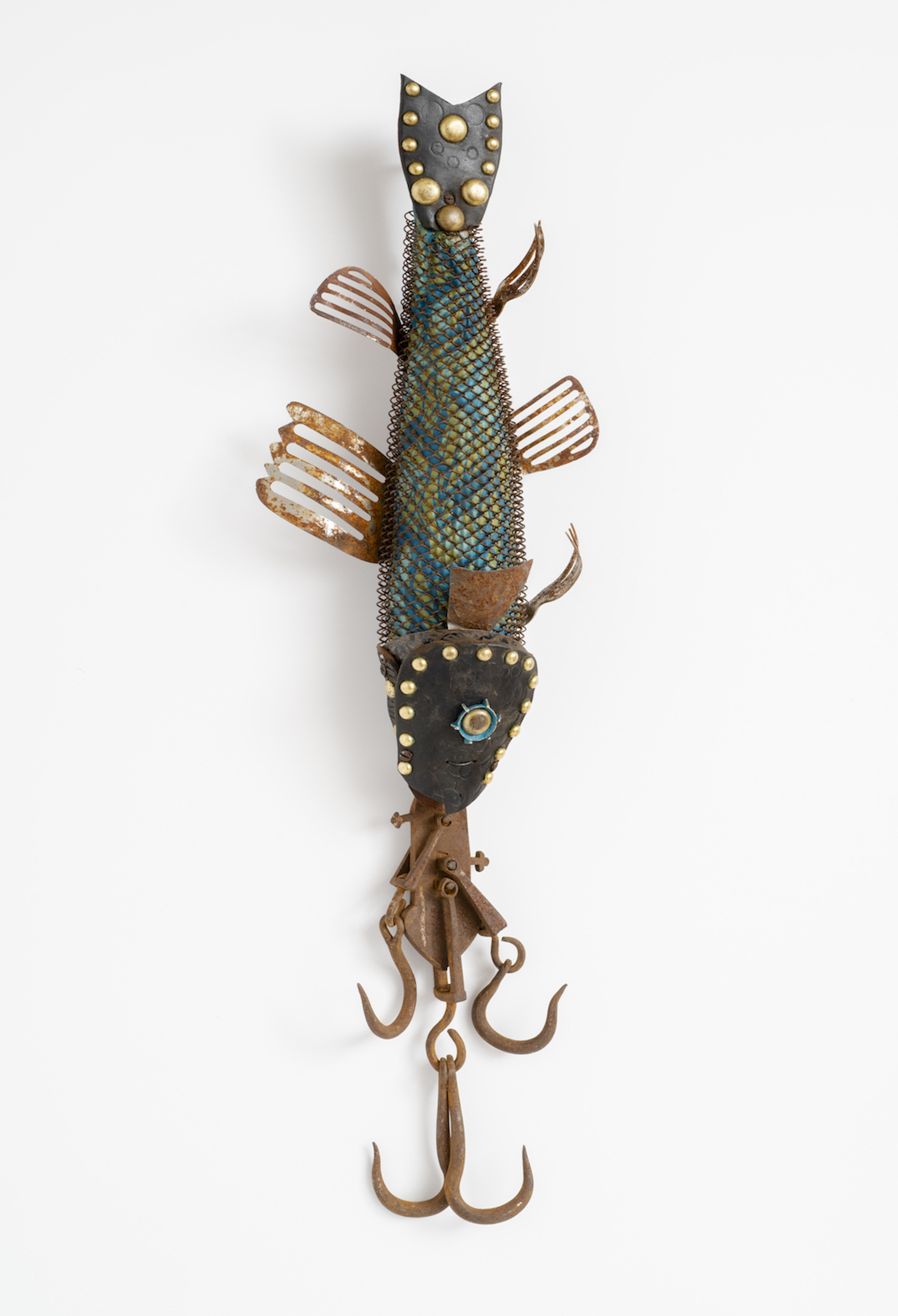 found objects, wall assemblage, fish, ocean, mixed media
