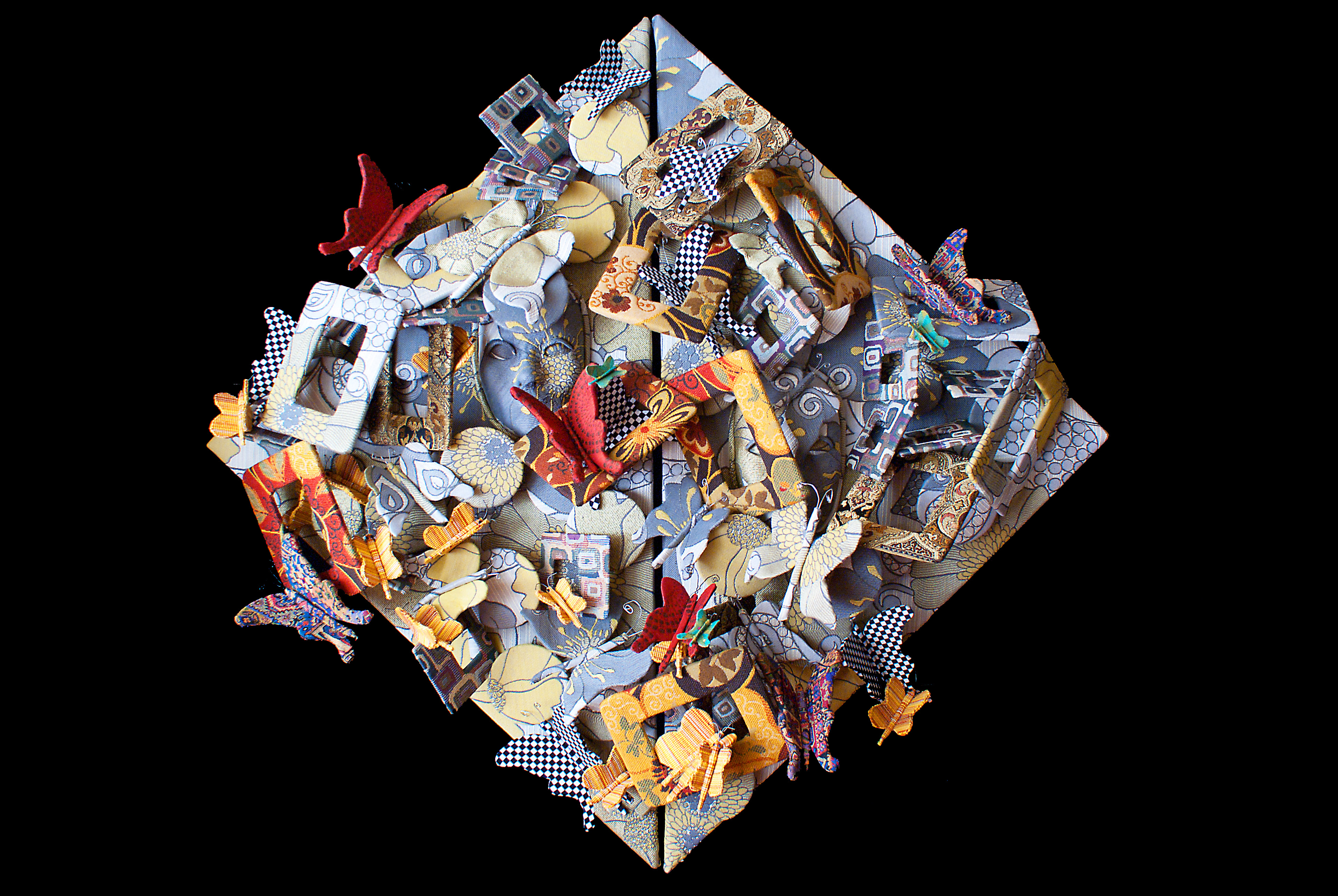 butterflies,visual art, mixed media, textiles, fabric, 3D,  contemporary, abstract