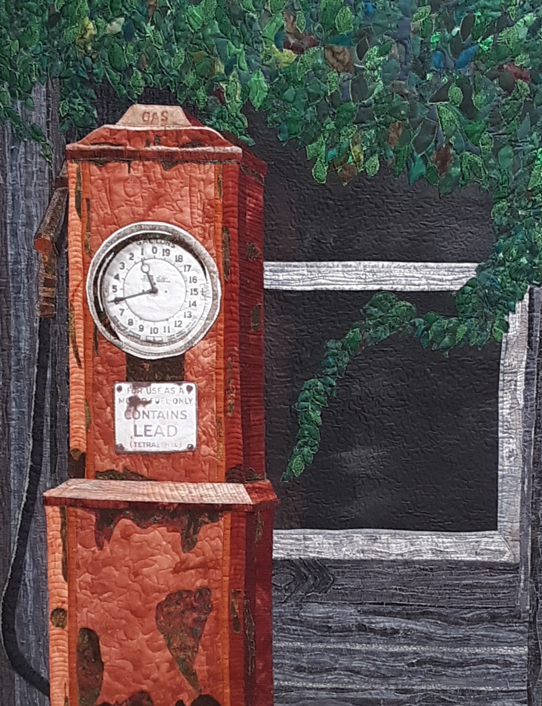 Art quilt, gas pump, fabric