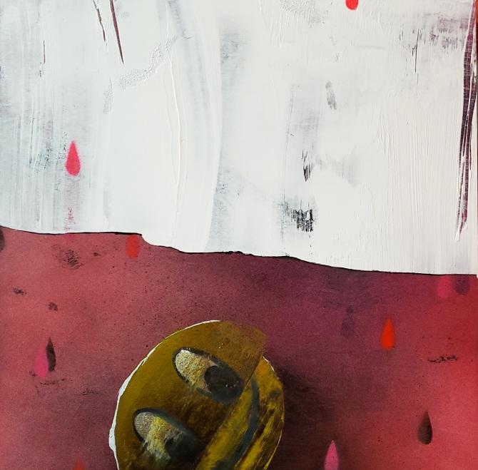 """""""How to shield an already bleeding heart"""" Oil and acrylic on panel, 2019 12"""" x 12"""""""