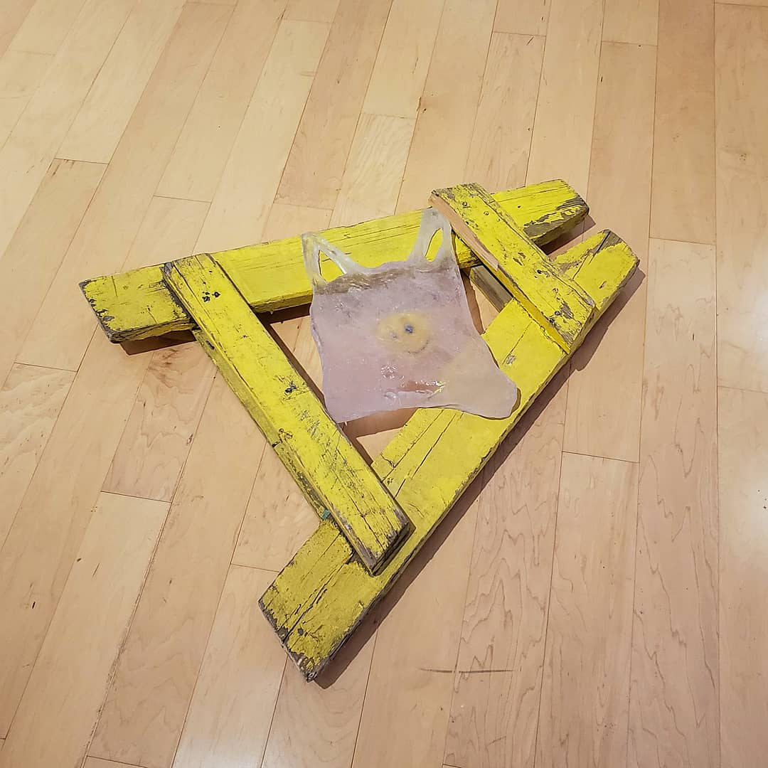 """""""Barriers"""", 2019 Found Police barricade, resin and found takeaway bag 36"""" x 48"""" x 7"""""""