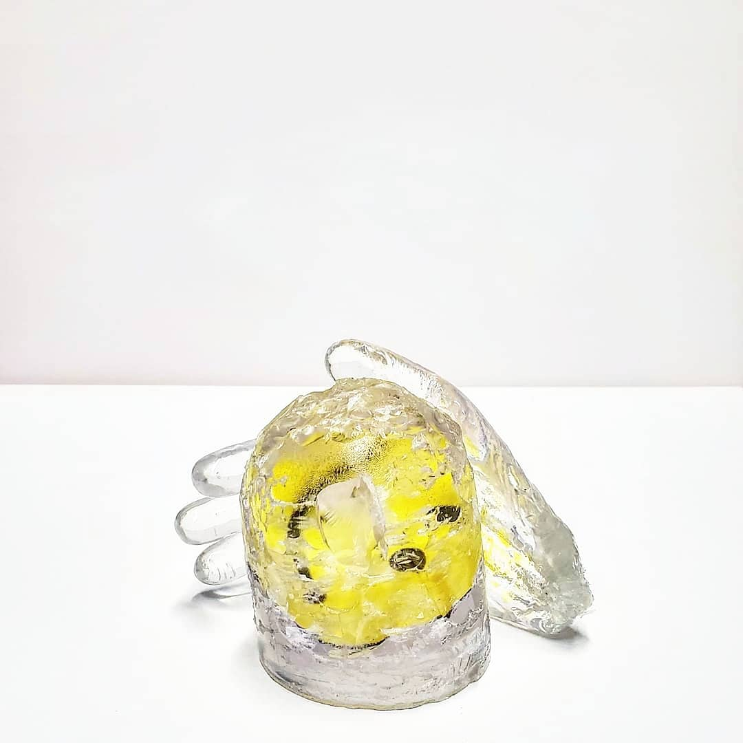 """""""Scarification"""" Resin and found takeaway bag, 2019 8"""" x 10"""" x 8"""""""