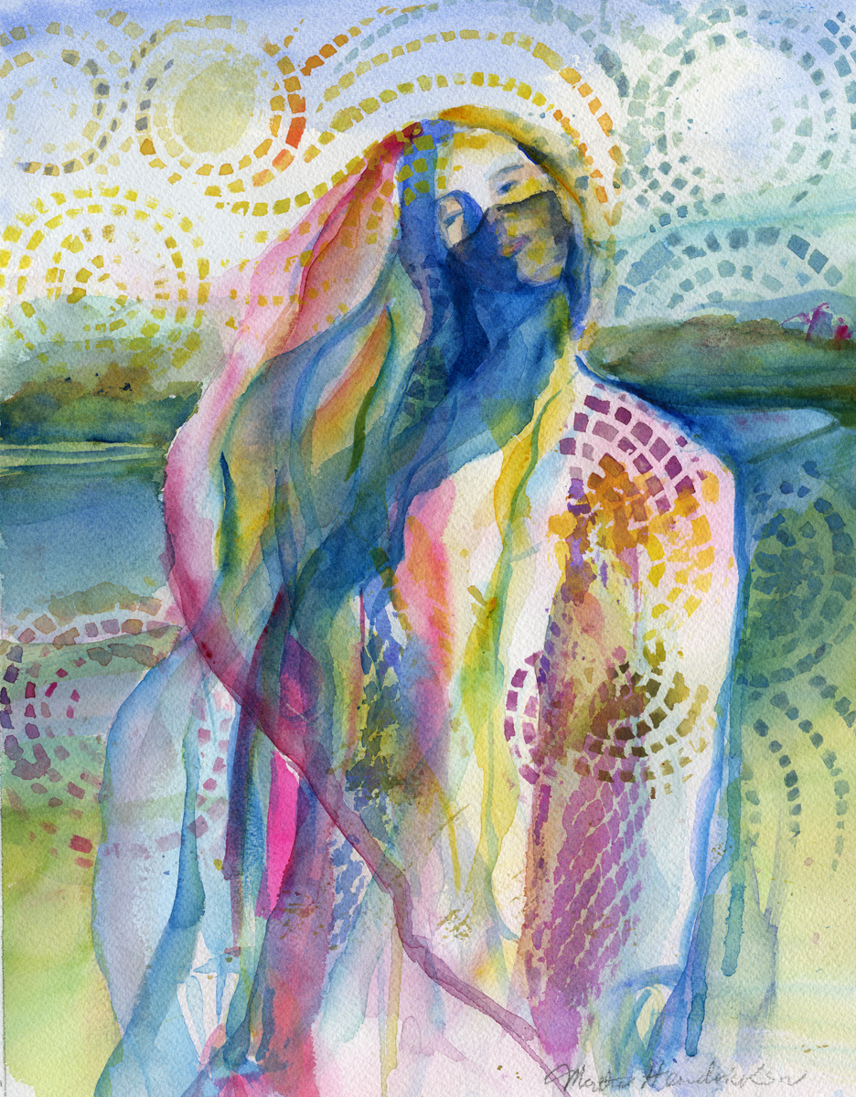 Watercolor of Woman in scarf