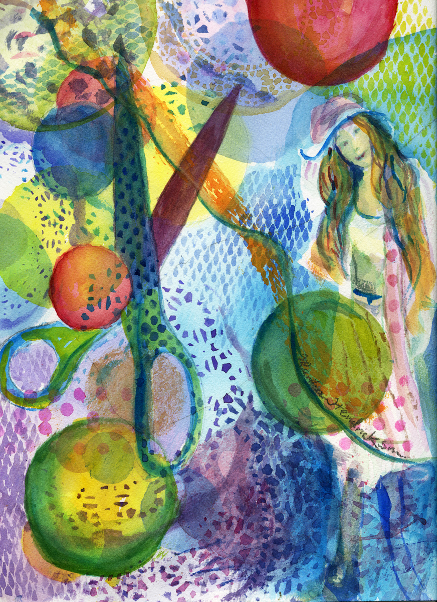 Watercolor of figure with scissors and bubbles