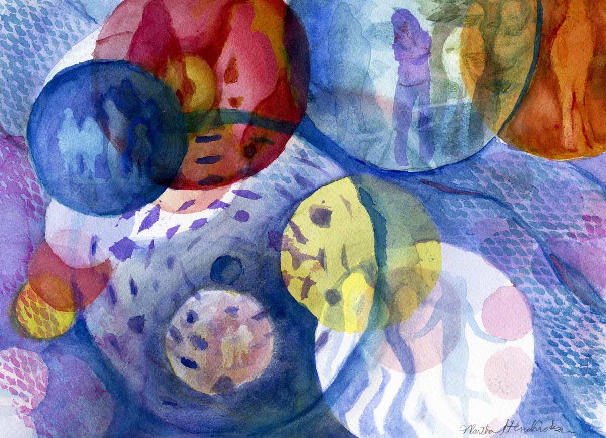 Watercolor of Colorful Circluar shapes with figures in them