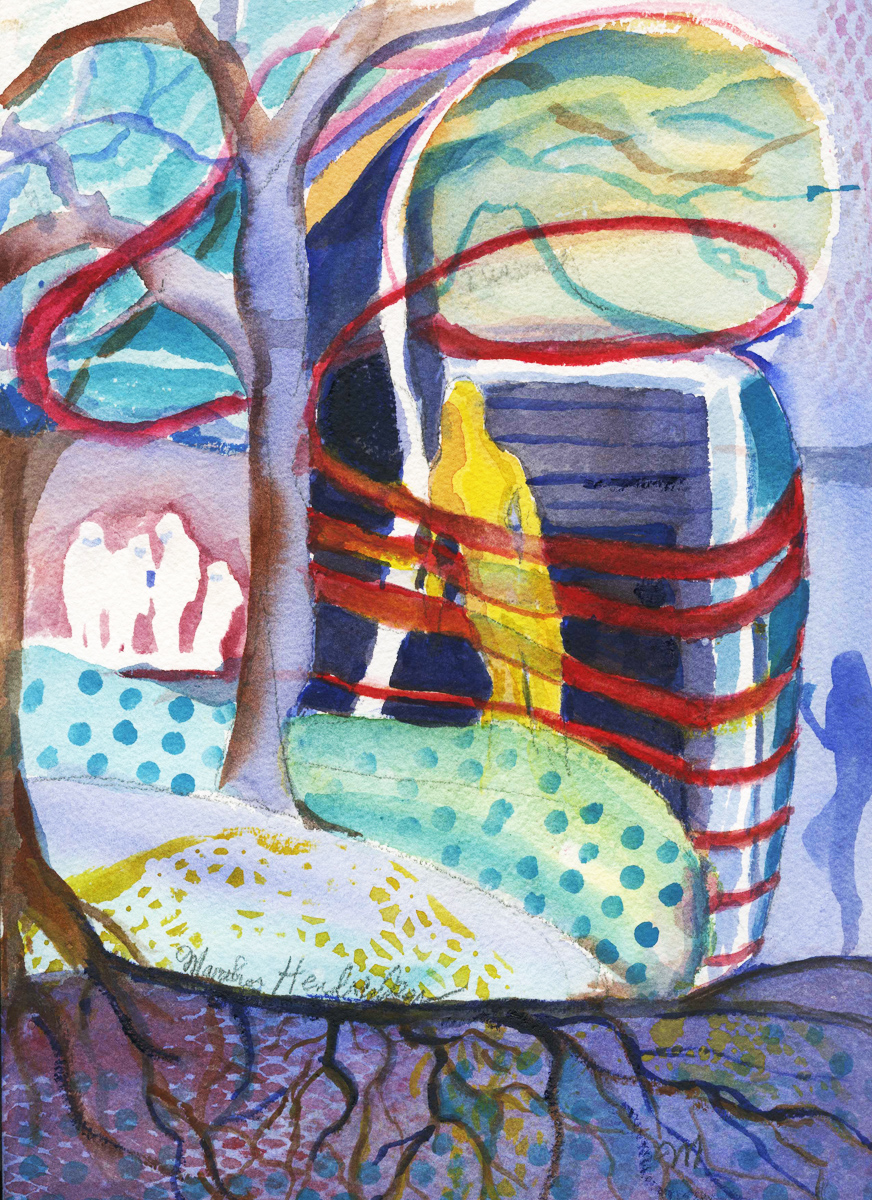 Watercolor of figure and tree