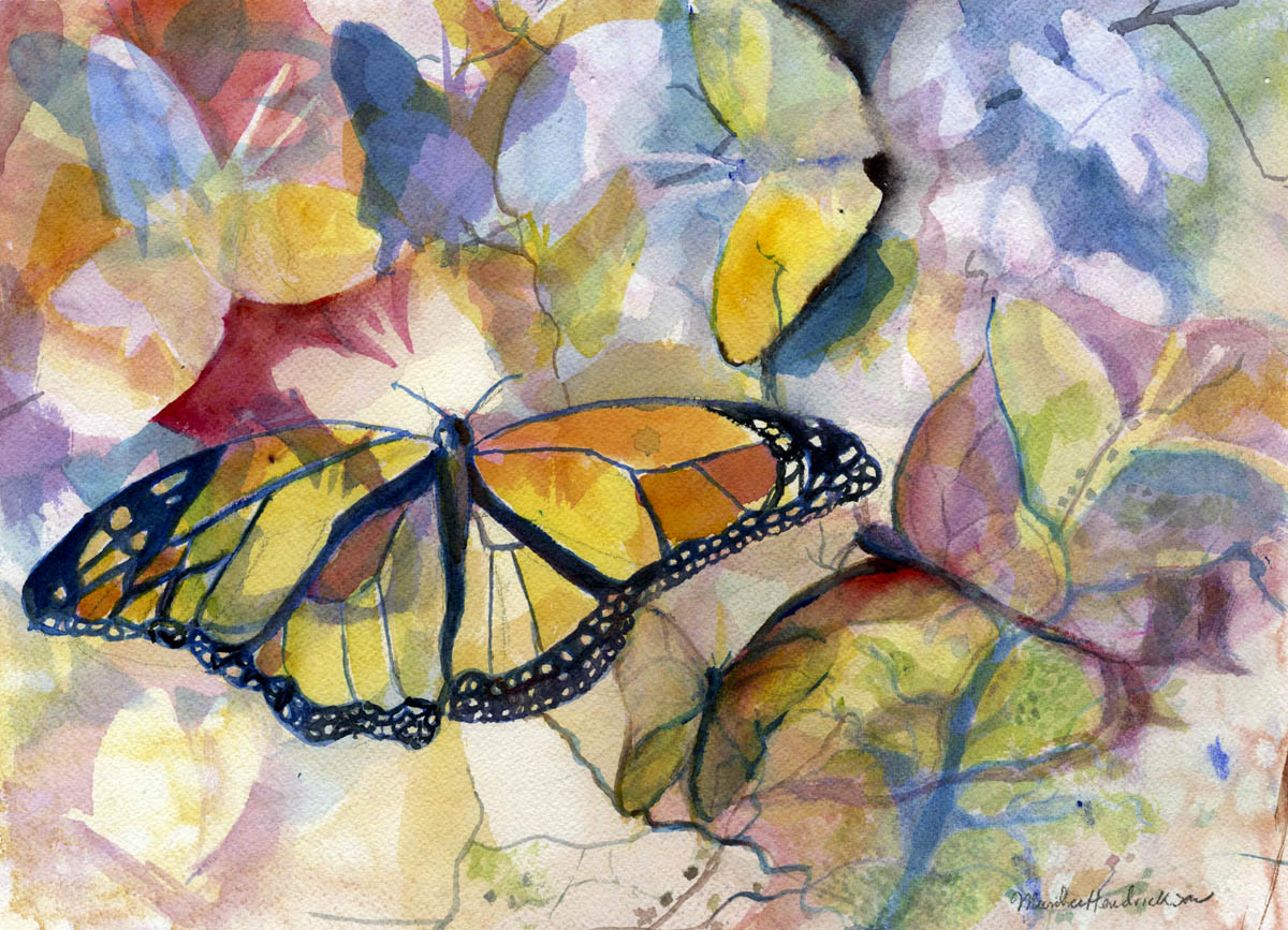 watercolor painting of butterflies and insects in layers