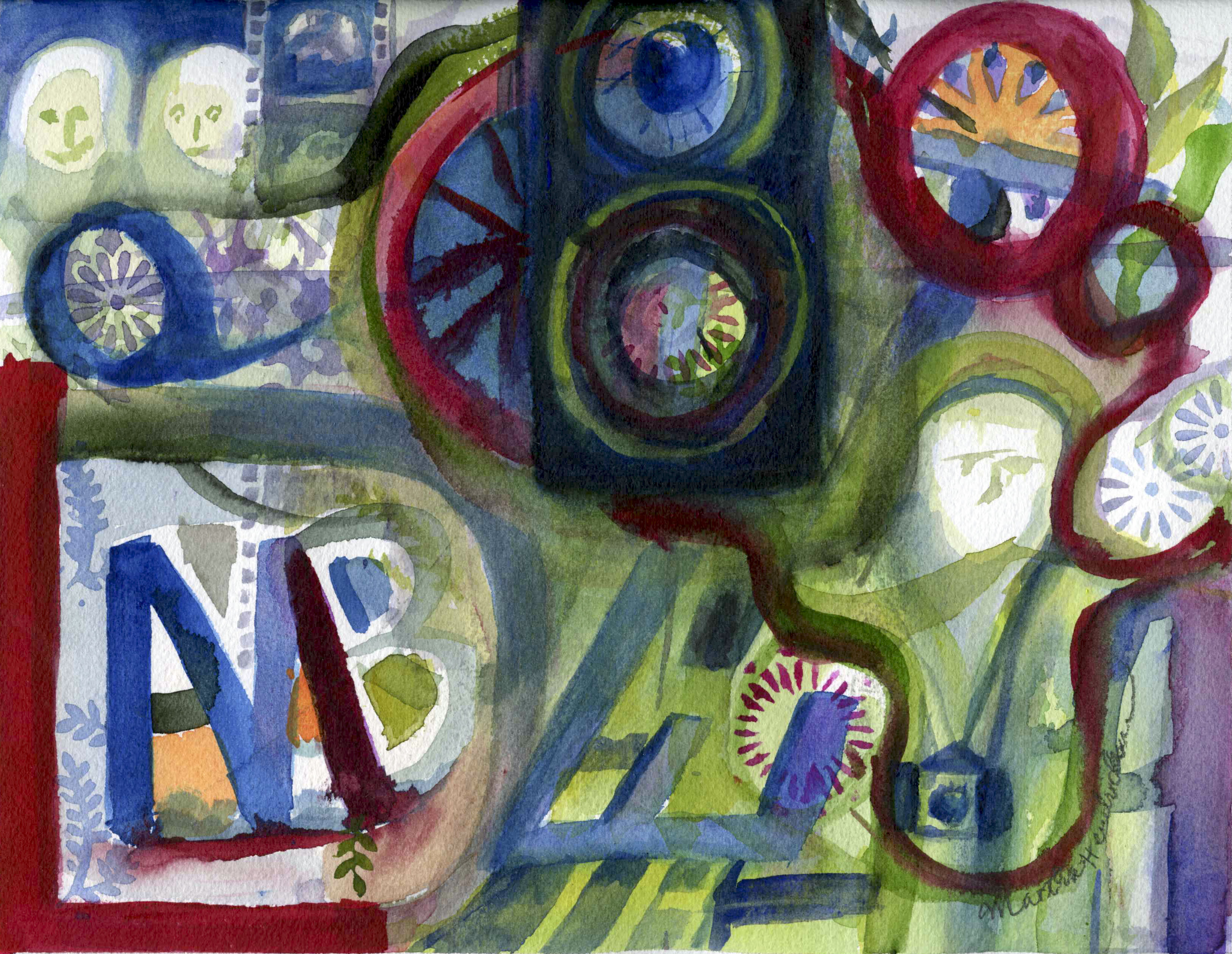Abstract watercolor painting using letters
