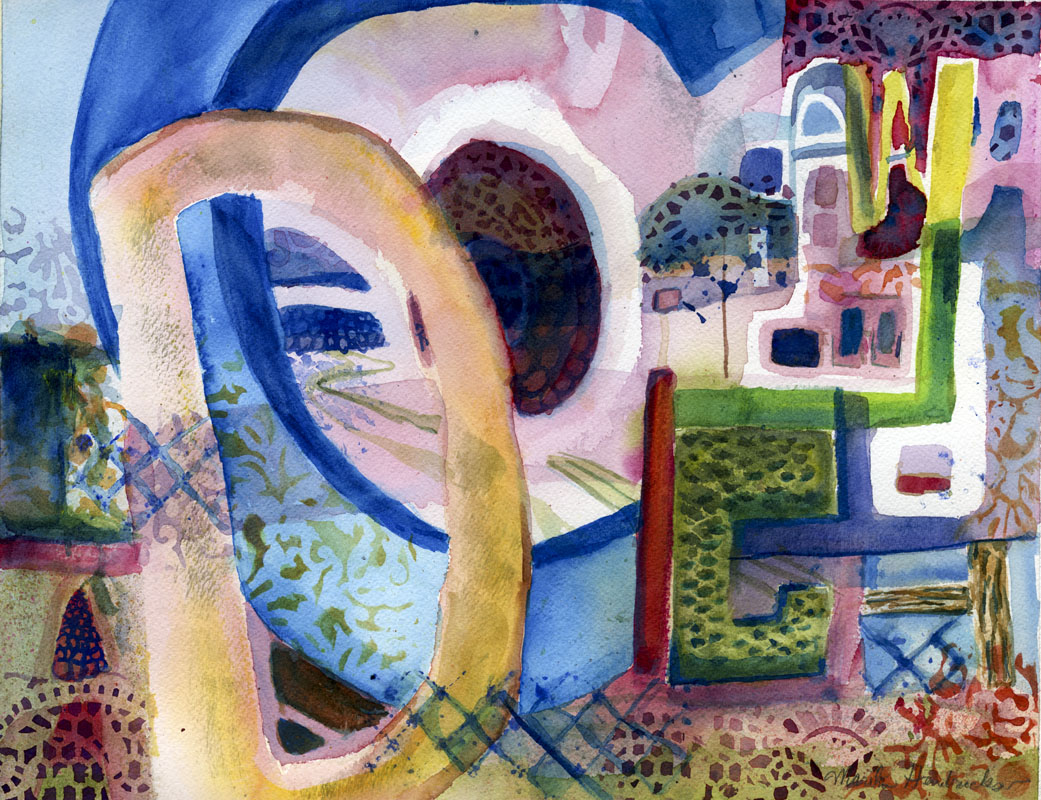 Abstract watercolor painting of letters.
