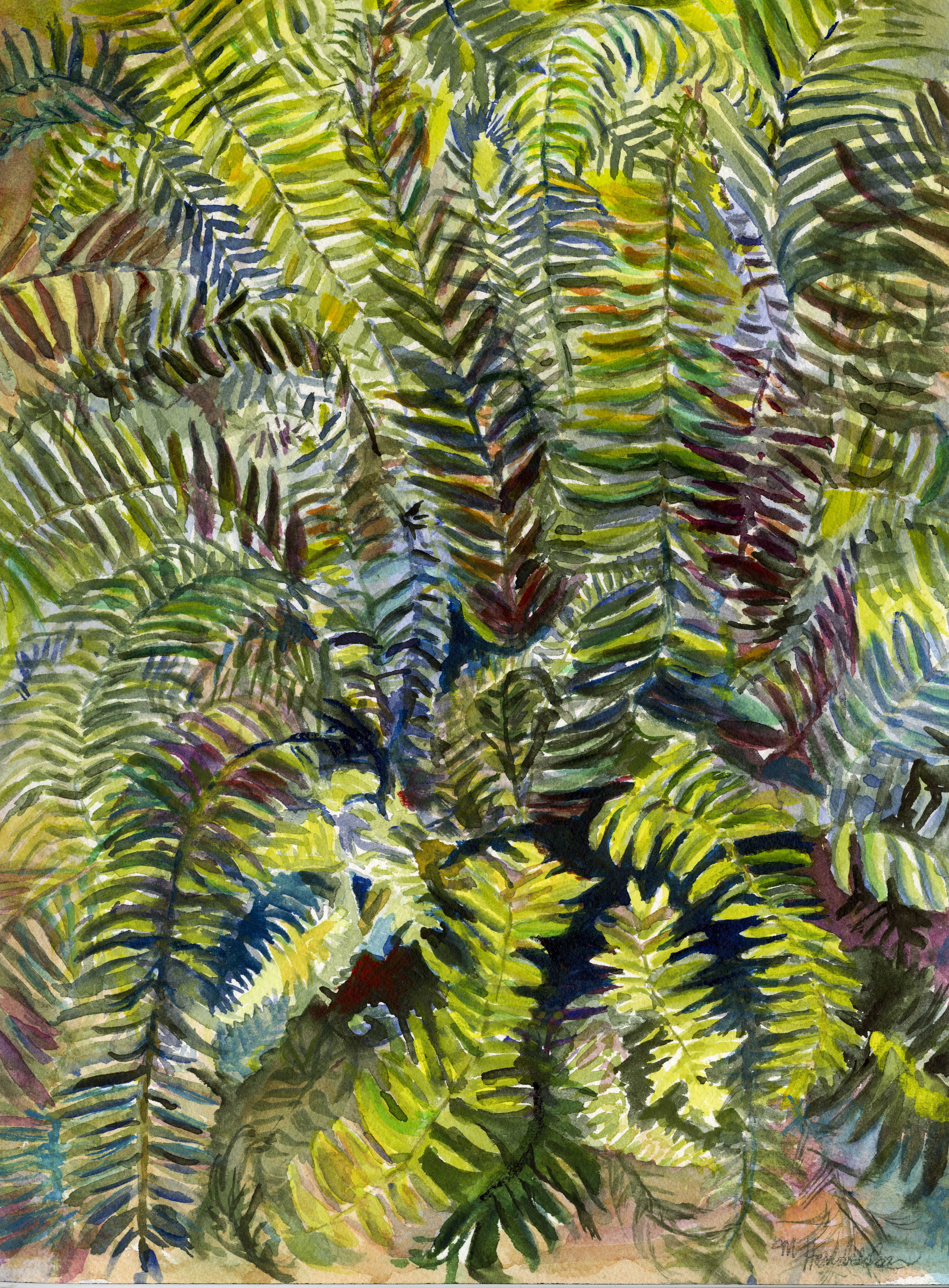 painting of fern going in various directions