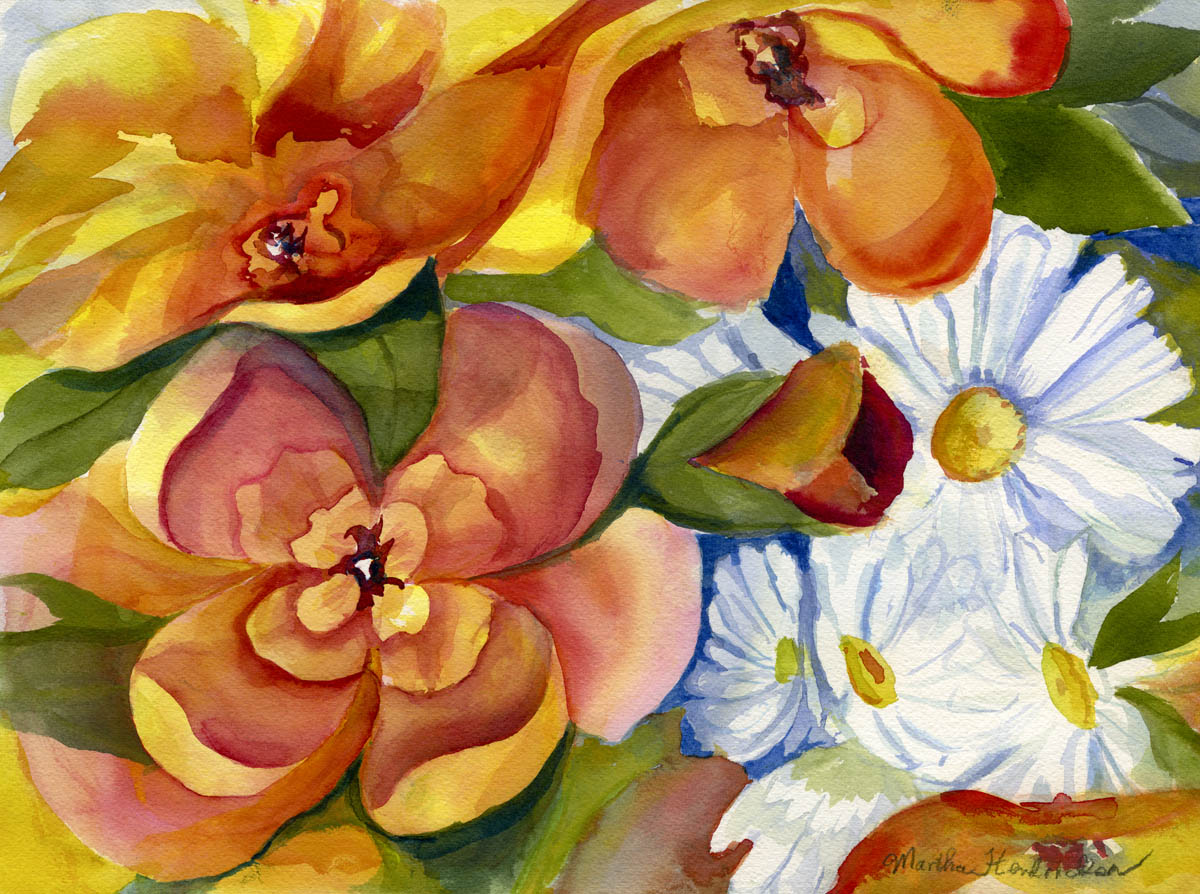 Watercolor painting of orange and white flowers