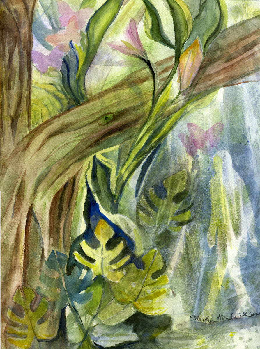 watercolor painting of forest scene and images in greens with a figure