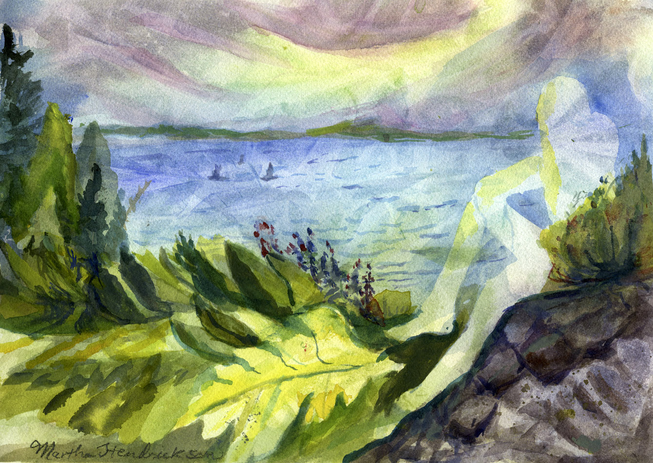 Watercolor of ferns rocks and lake and figure outline