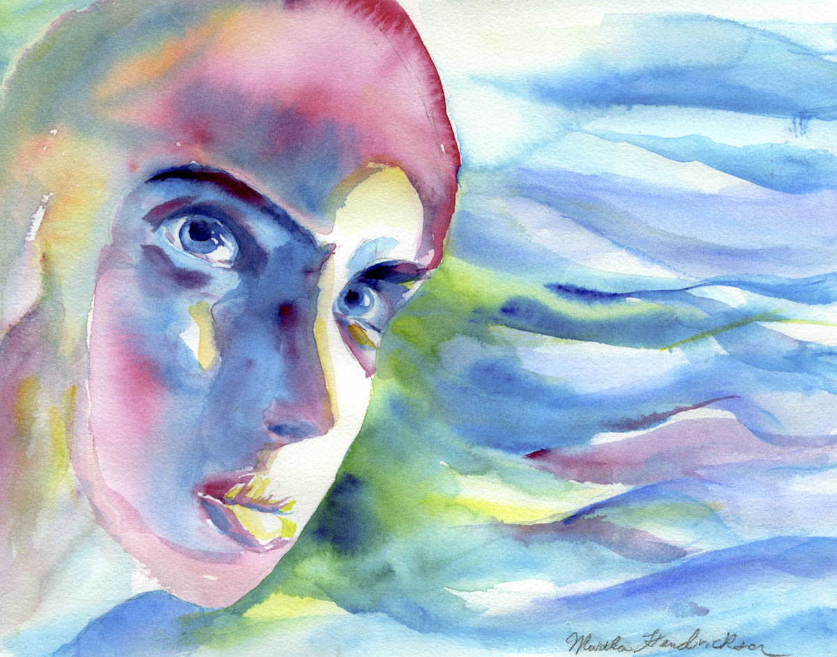 Watercolor painting of head  in blue shades