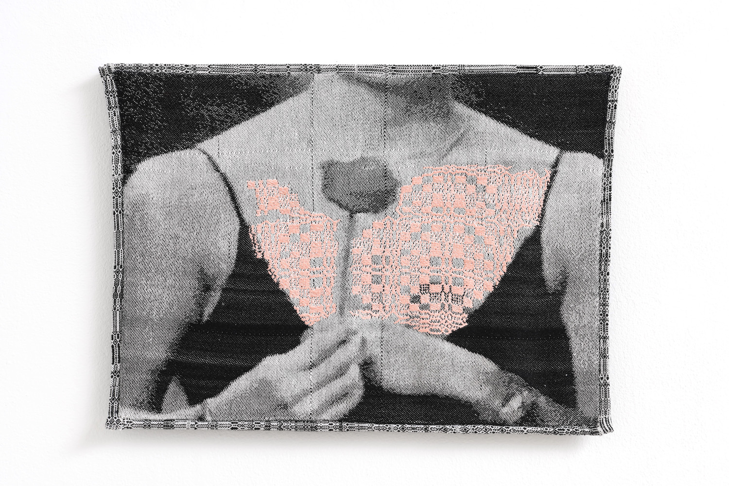 "woven image of a woman holding a rose at a ""rose ceremony"" with a rosette pattern overlaid across her chest"