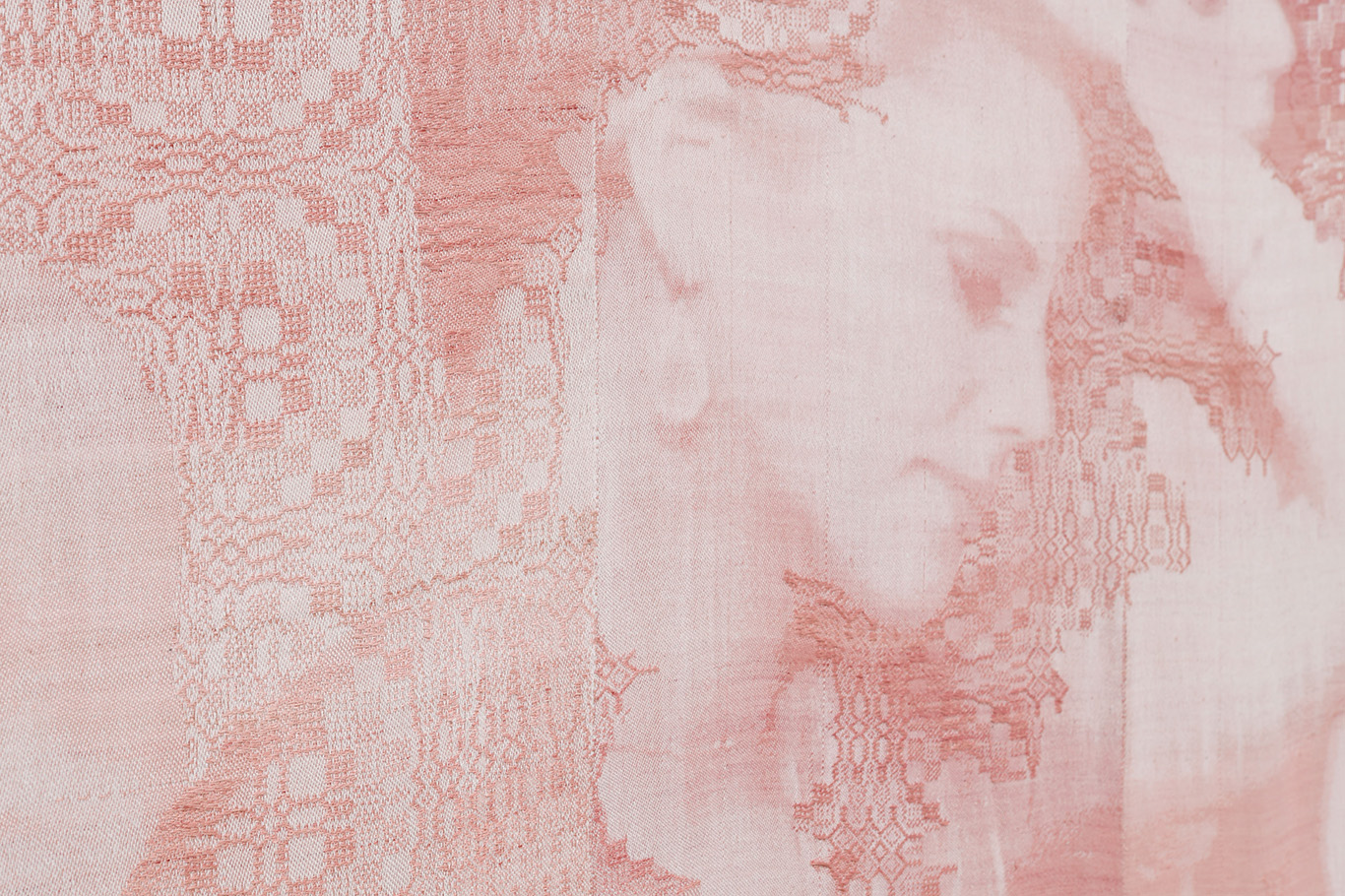 "Detail of a woven portrait of a woman rejected from an episode of ""The Bachelor"" based on an inverted screenshot"
