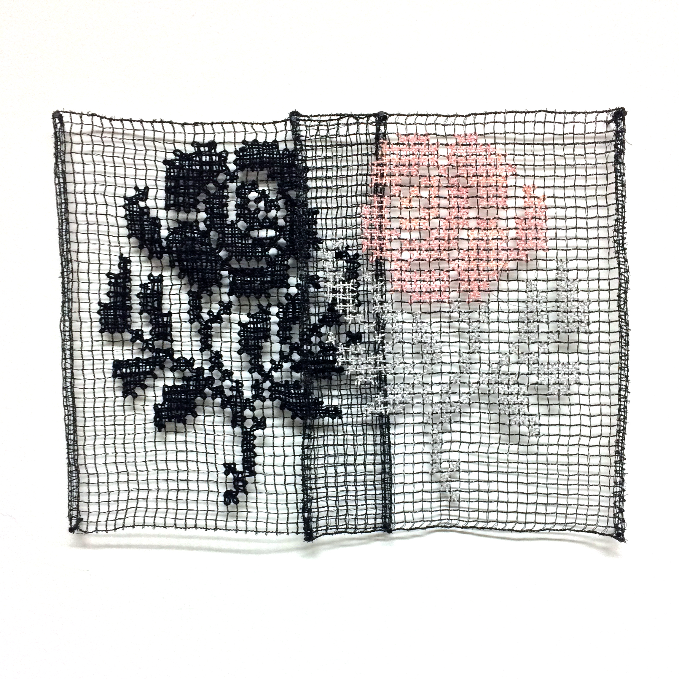 Lace rose in black and white and pink and grey